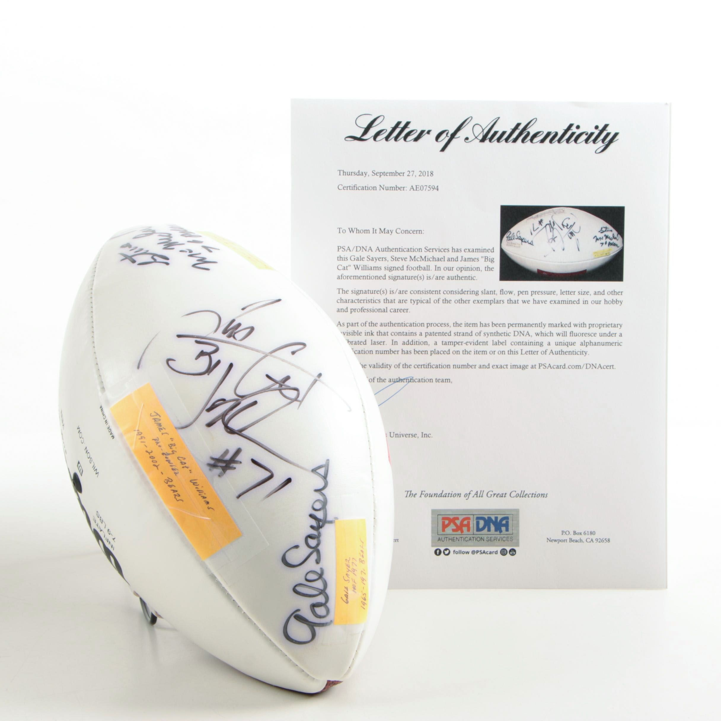 Gale Sayers, Steve McMichael, James William Autographed Football - PSA/DNA LOA