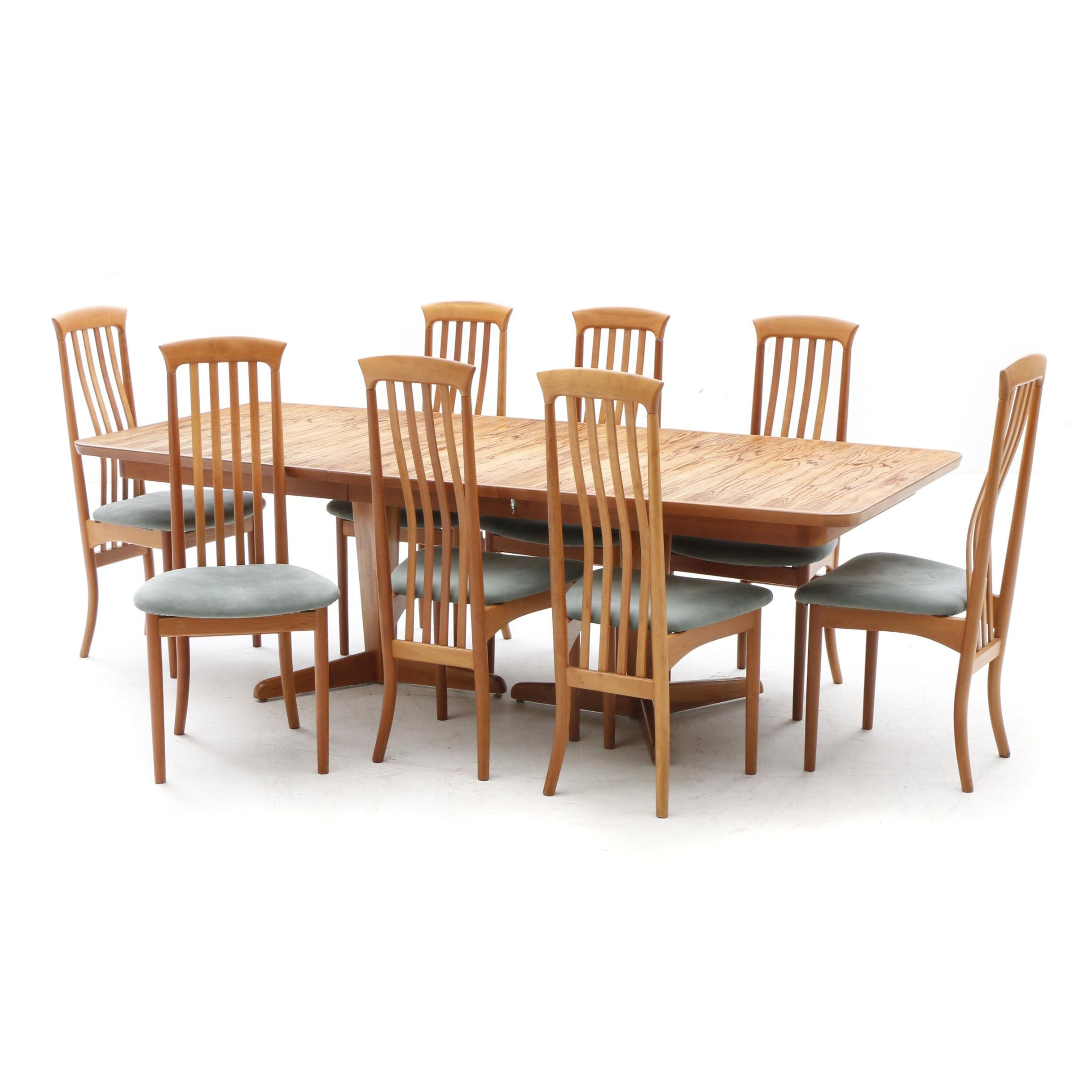 Danish Modern Teak Dining Table With Eight Chairs