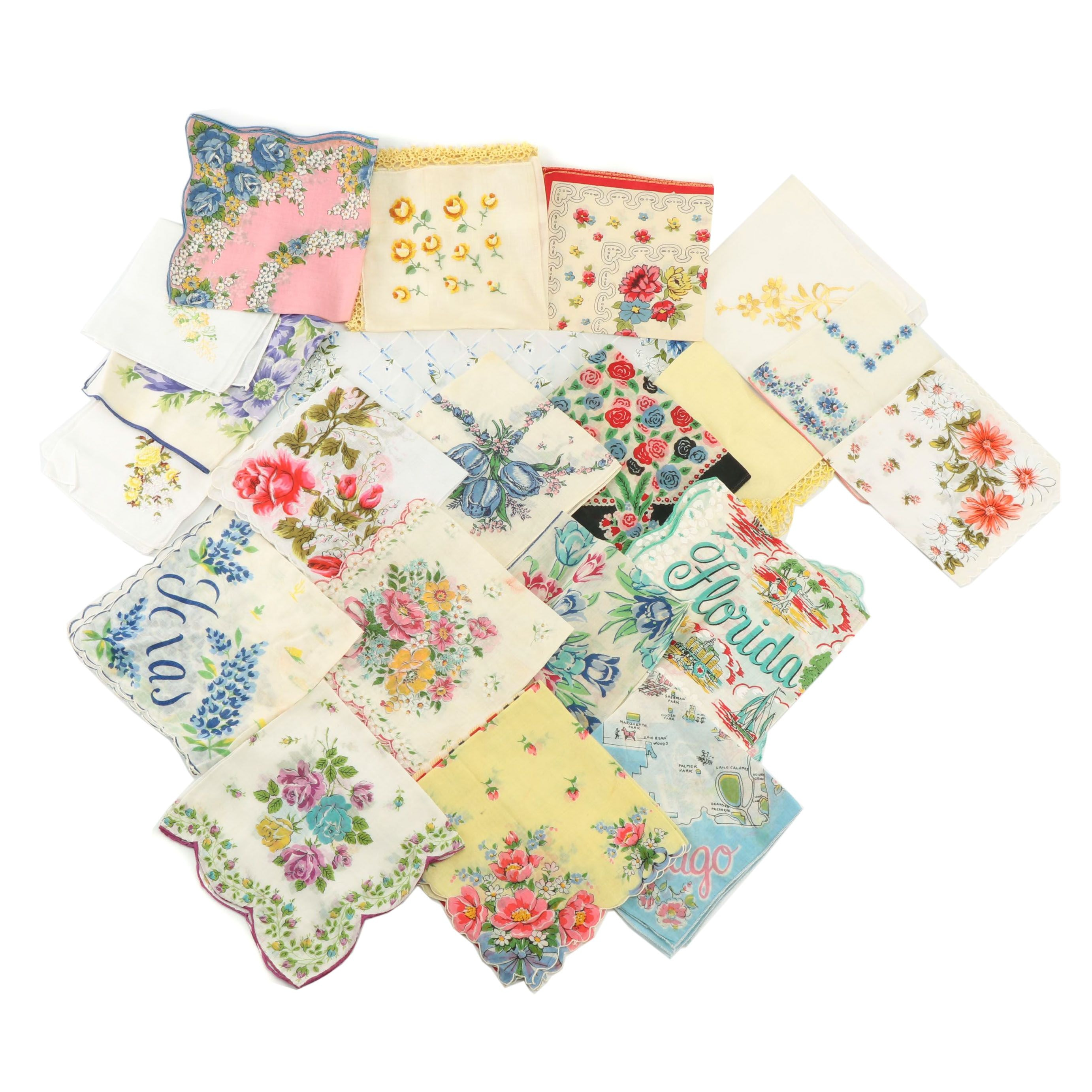 Cotton, Polyester and Nylon Handkerchiefs Including Floral Prints, Vintage