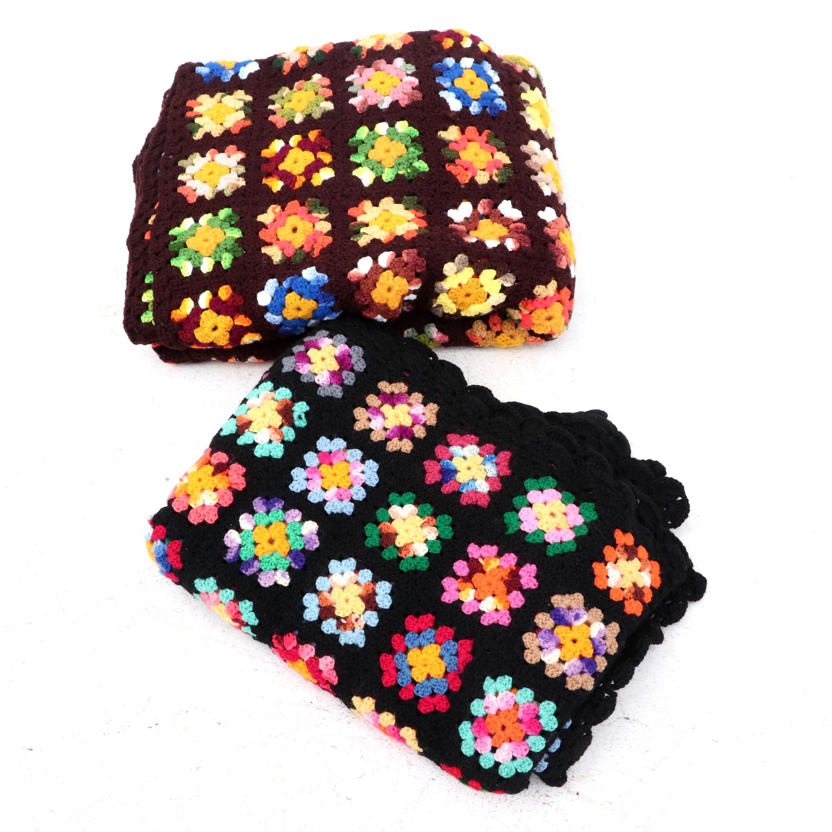 "Handmade ""Granny Square"" Crocheted Afghan Blankets"