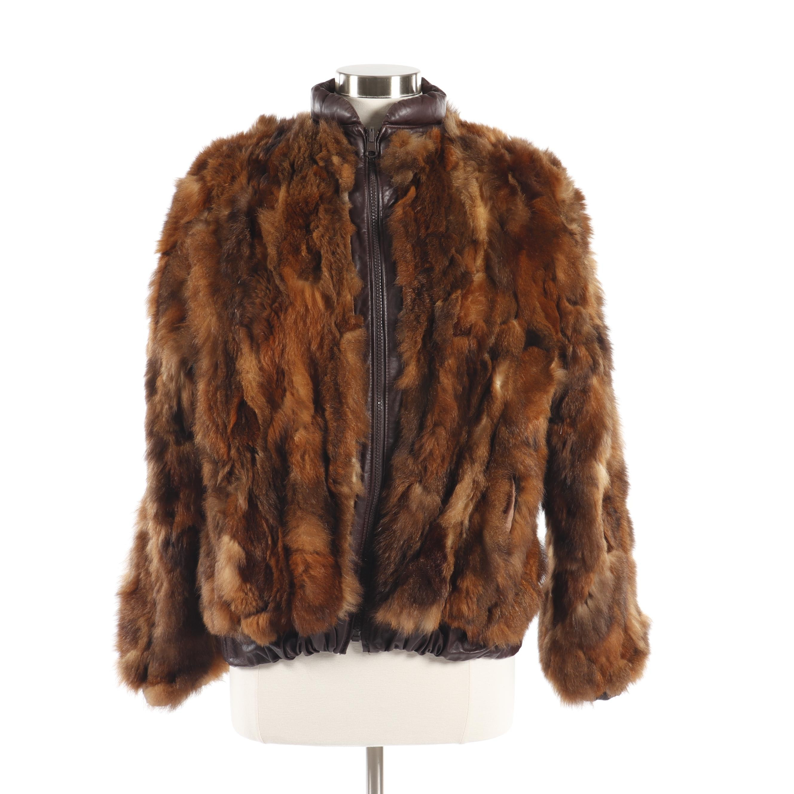 Women's Vintage Reversible Brown Rabbit Fur Jacket with Leather Trim