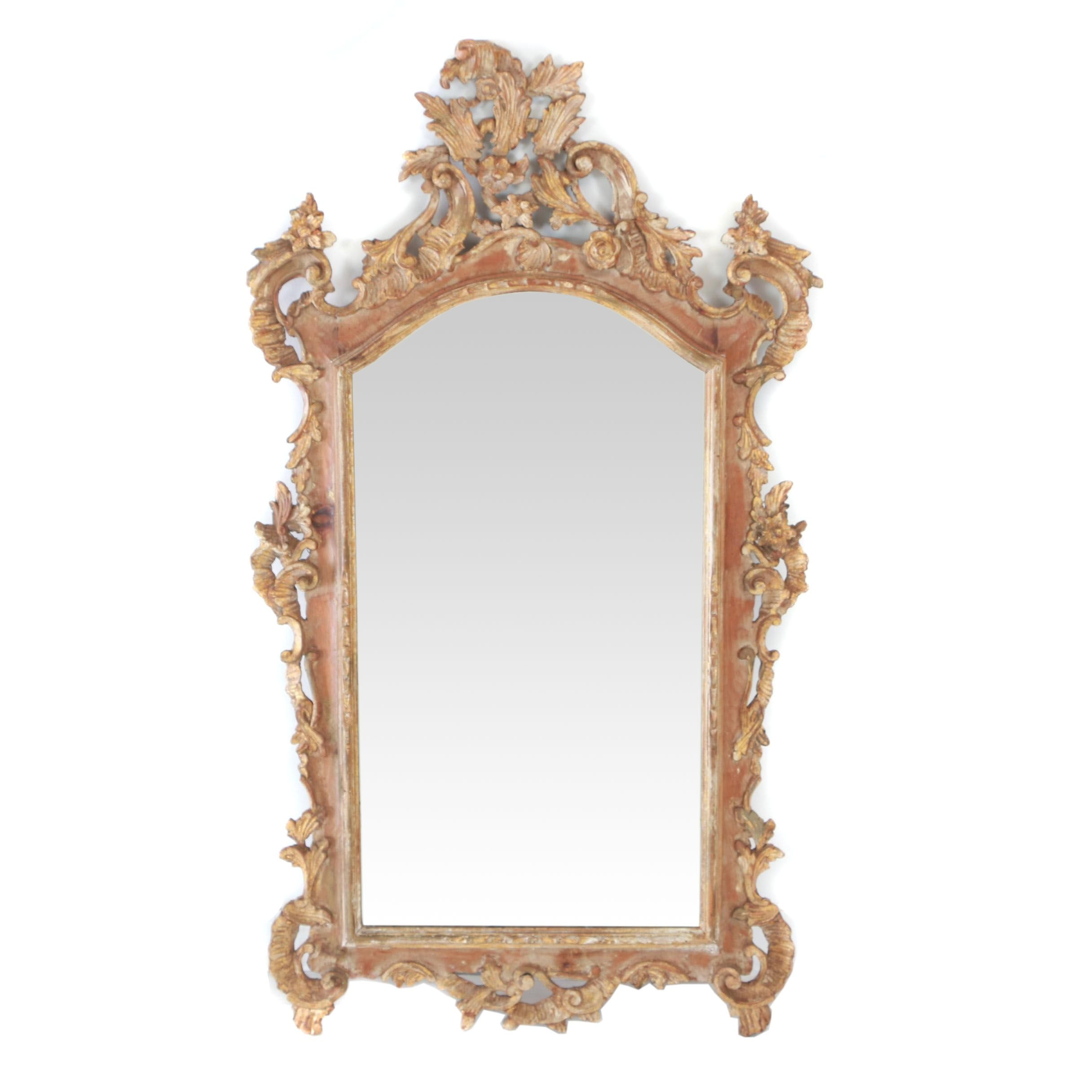 Rococo Style Giltwood Mirror, Probably Italian, 20th Century