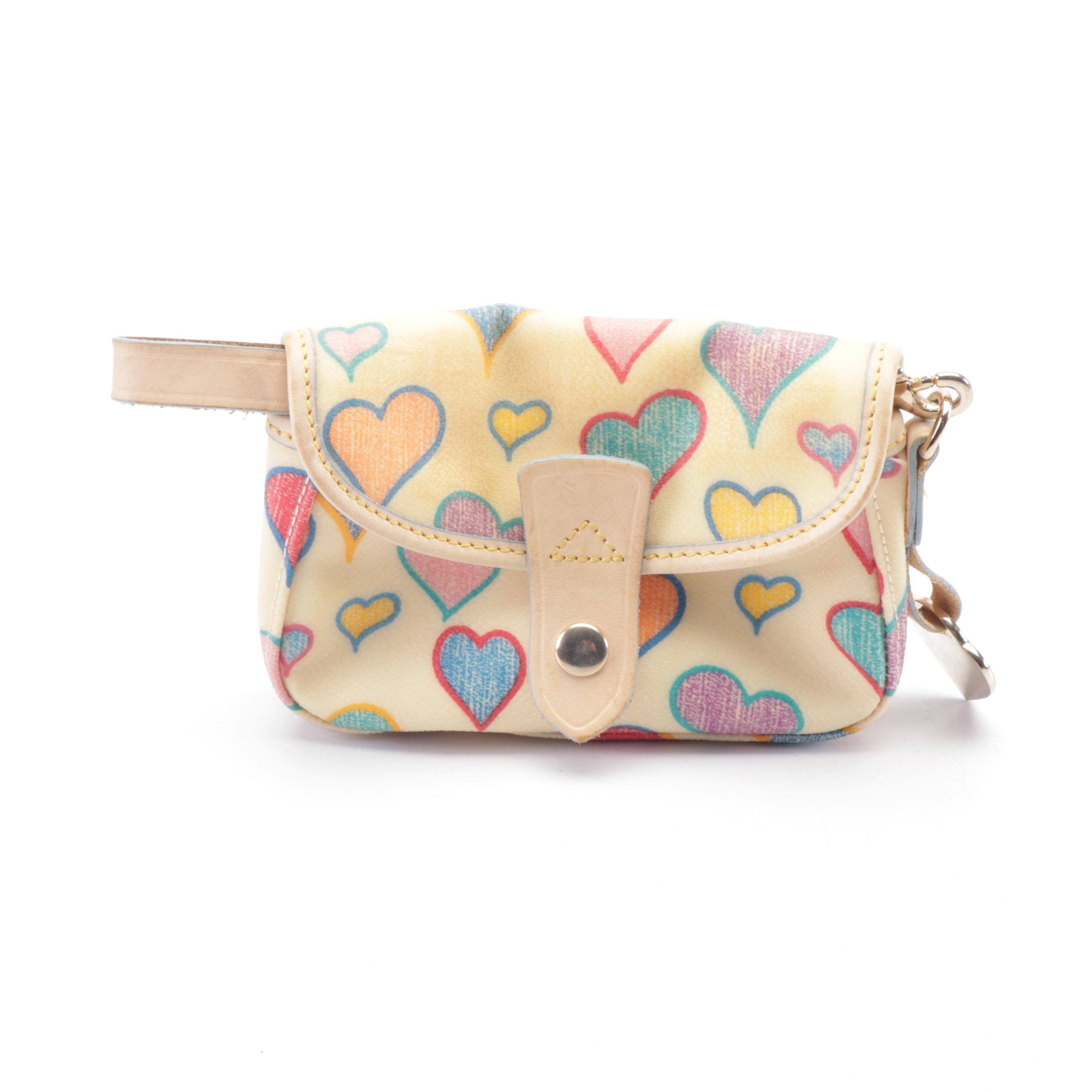 Dooney & Bourke Heart Print Coated Canvas Wristlet with Leather Trim