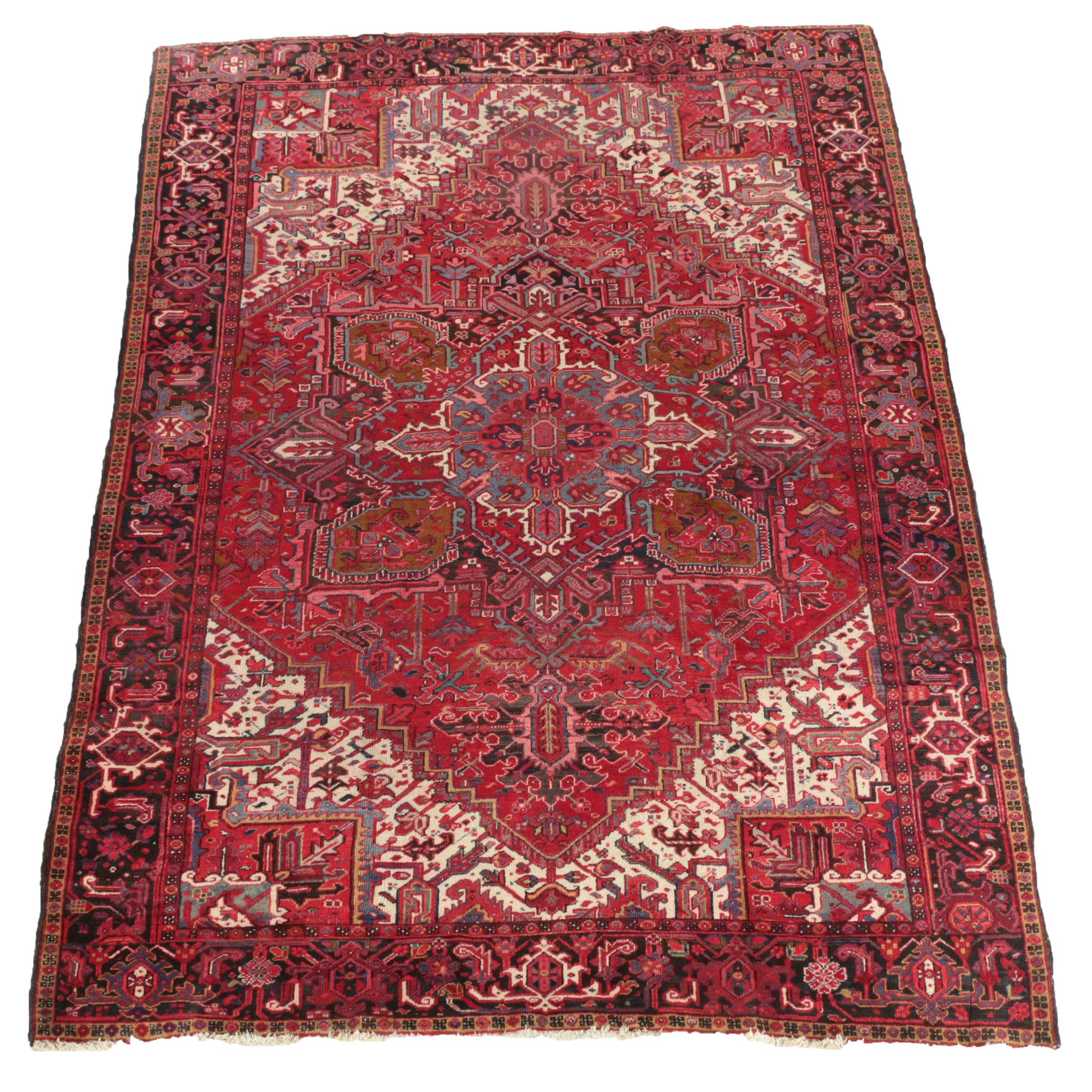 Hand-Knotted Persian Heriz Serapi Wool Room Sized Rug