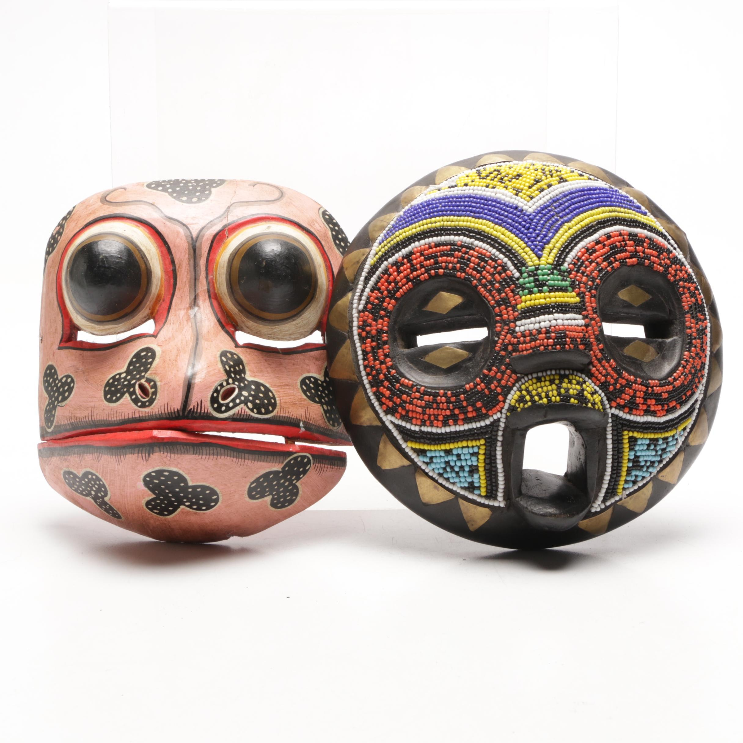 Hand Carved African Baluba Mask with Indonesian Batik Tribal Frog Mask