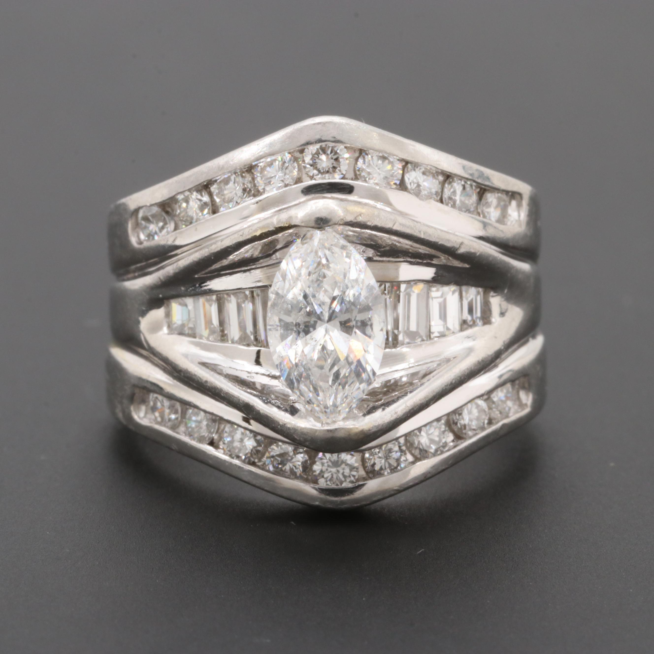 Platinum 1.72 CTW Diamond Ring