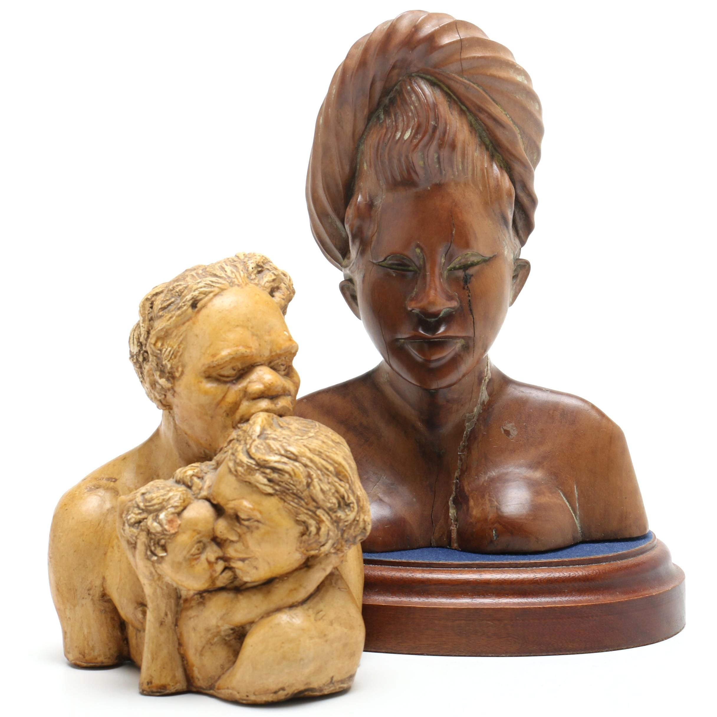 E & B Australia Ceramic Bust of Family and Carved Wooden African Bust