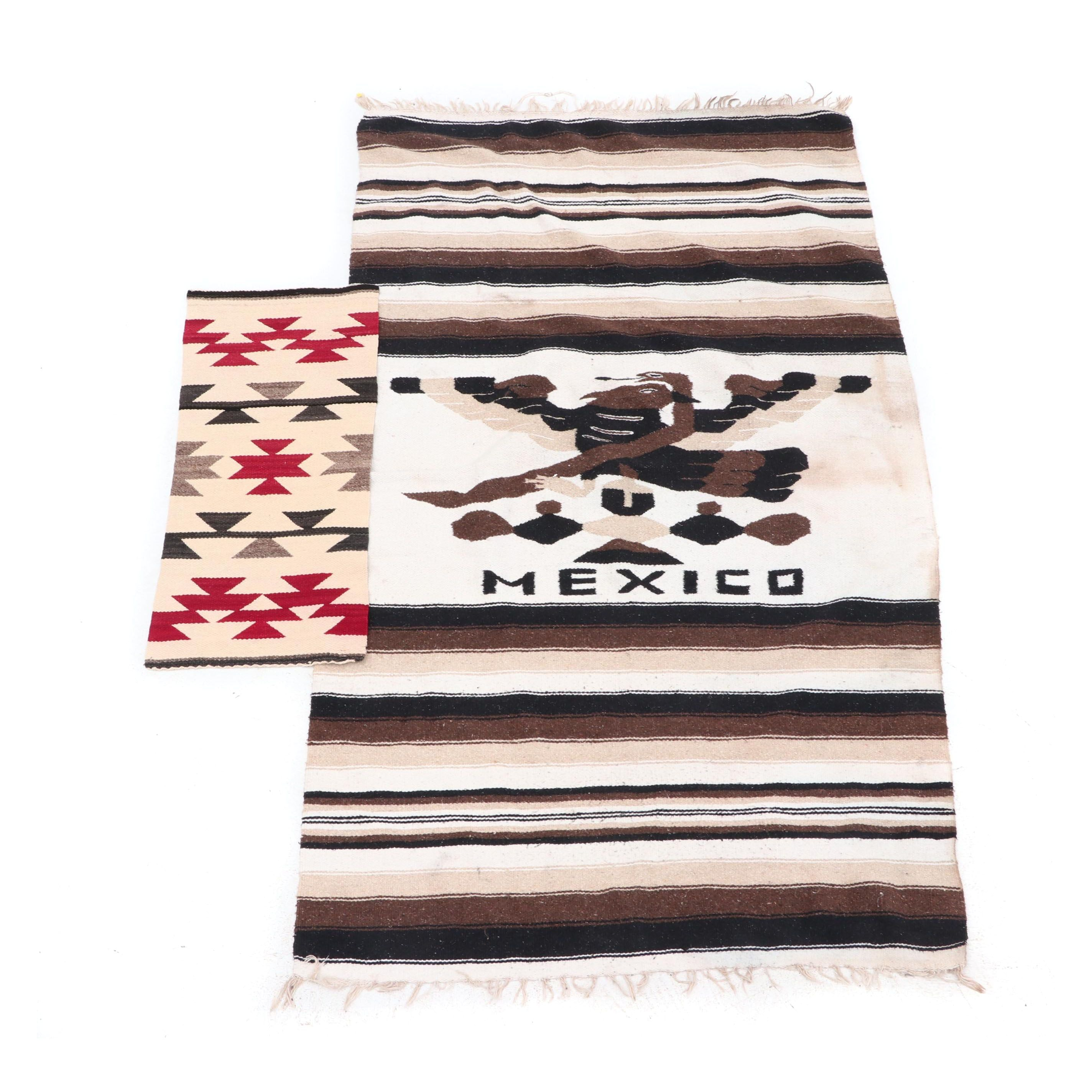 Handwoven Navajo Style Table-Runner and Mexican Rug