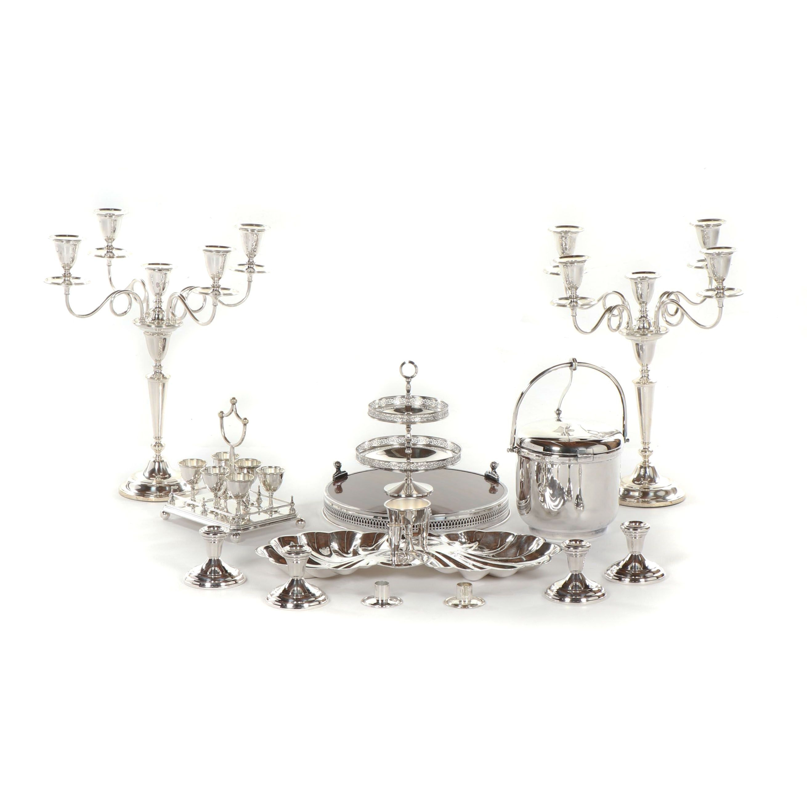 Garrard & Co. Regent Plate Candelabra with Other Silver Plate Tableware