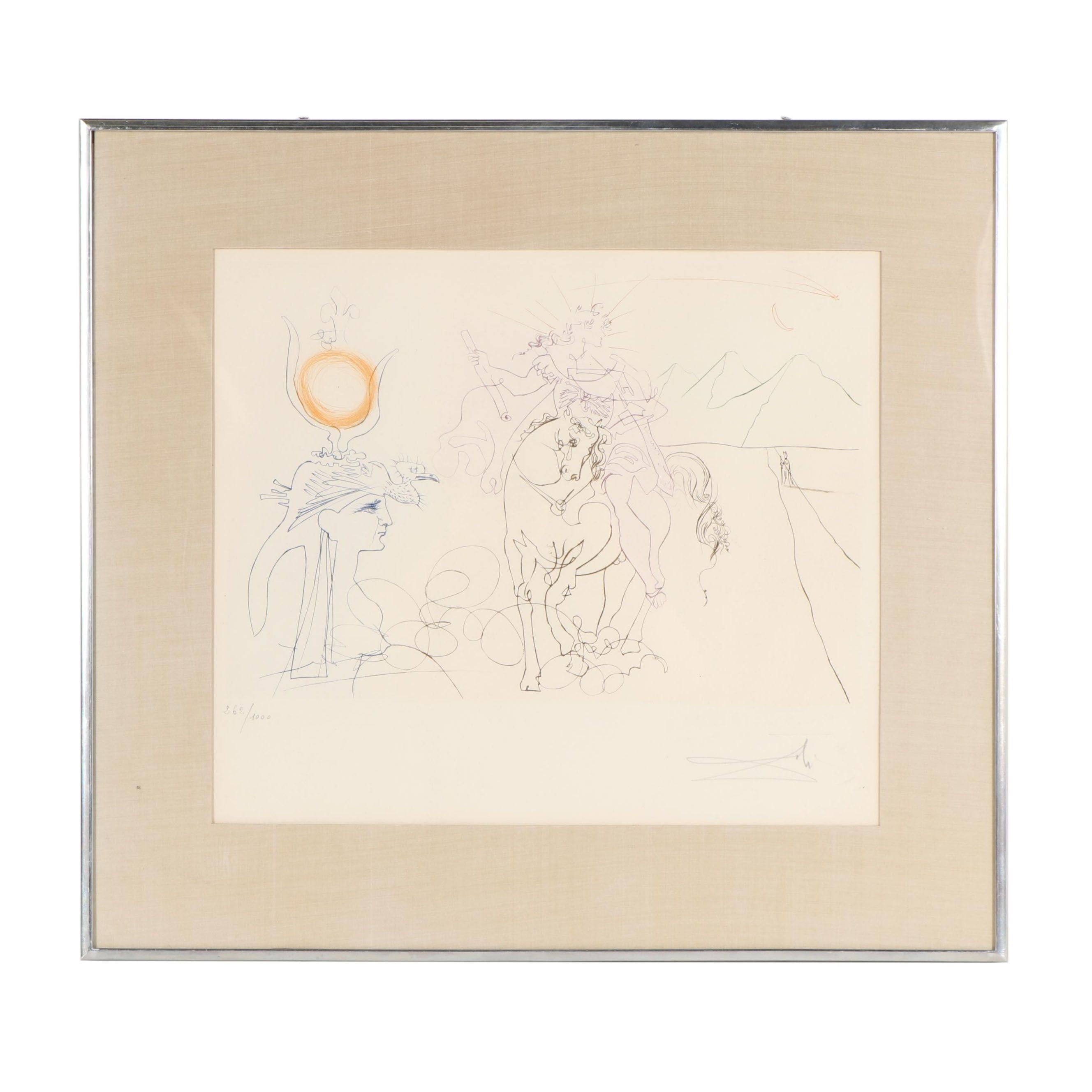 """Salvador Dalí Etching """"Famous Loves: Caesar and Cleopatra"""""""