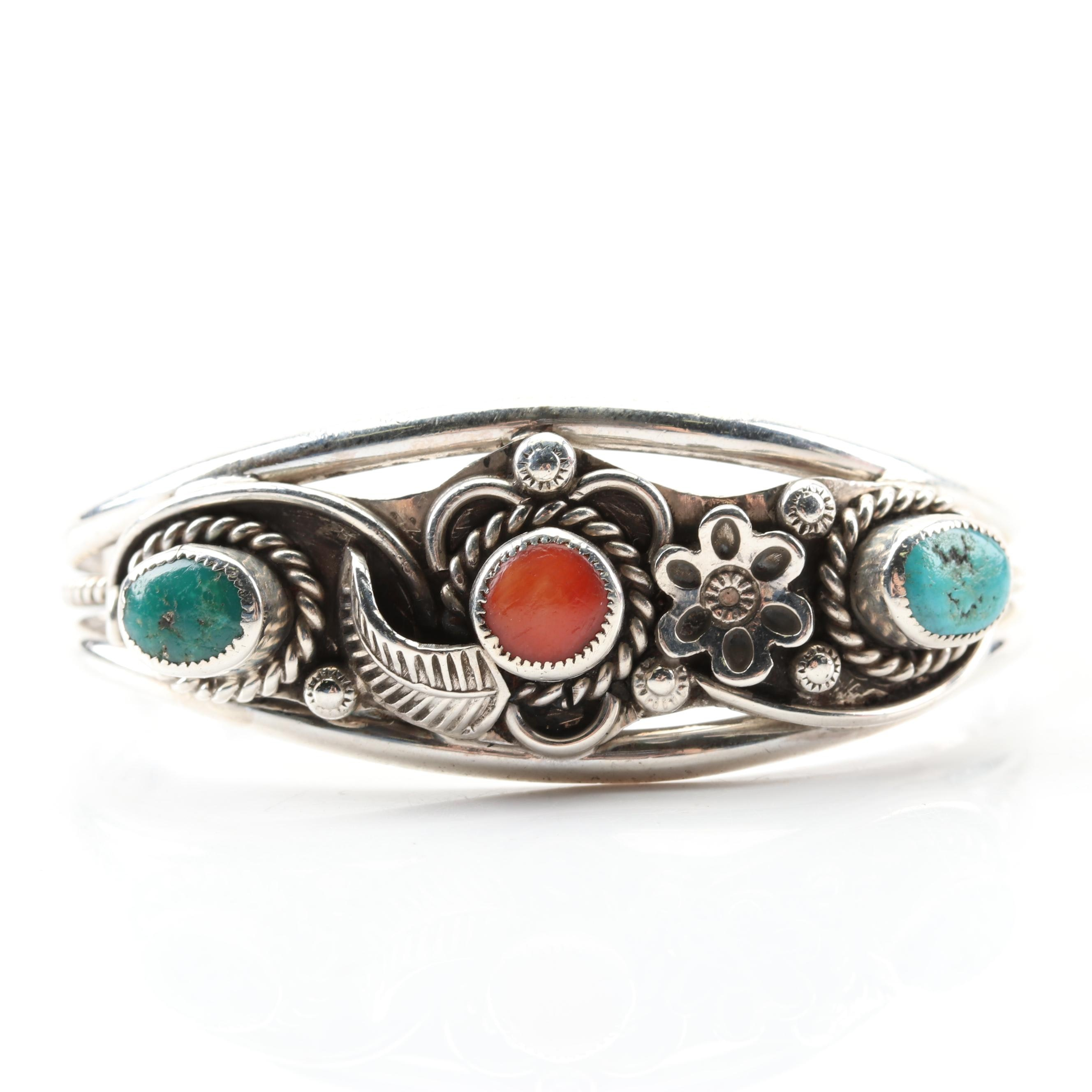 Child's Southwestern Style Sterling Silver Turquoise and Coral Cuff Bracelet