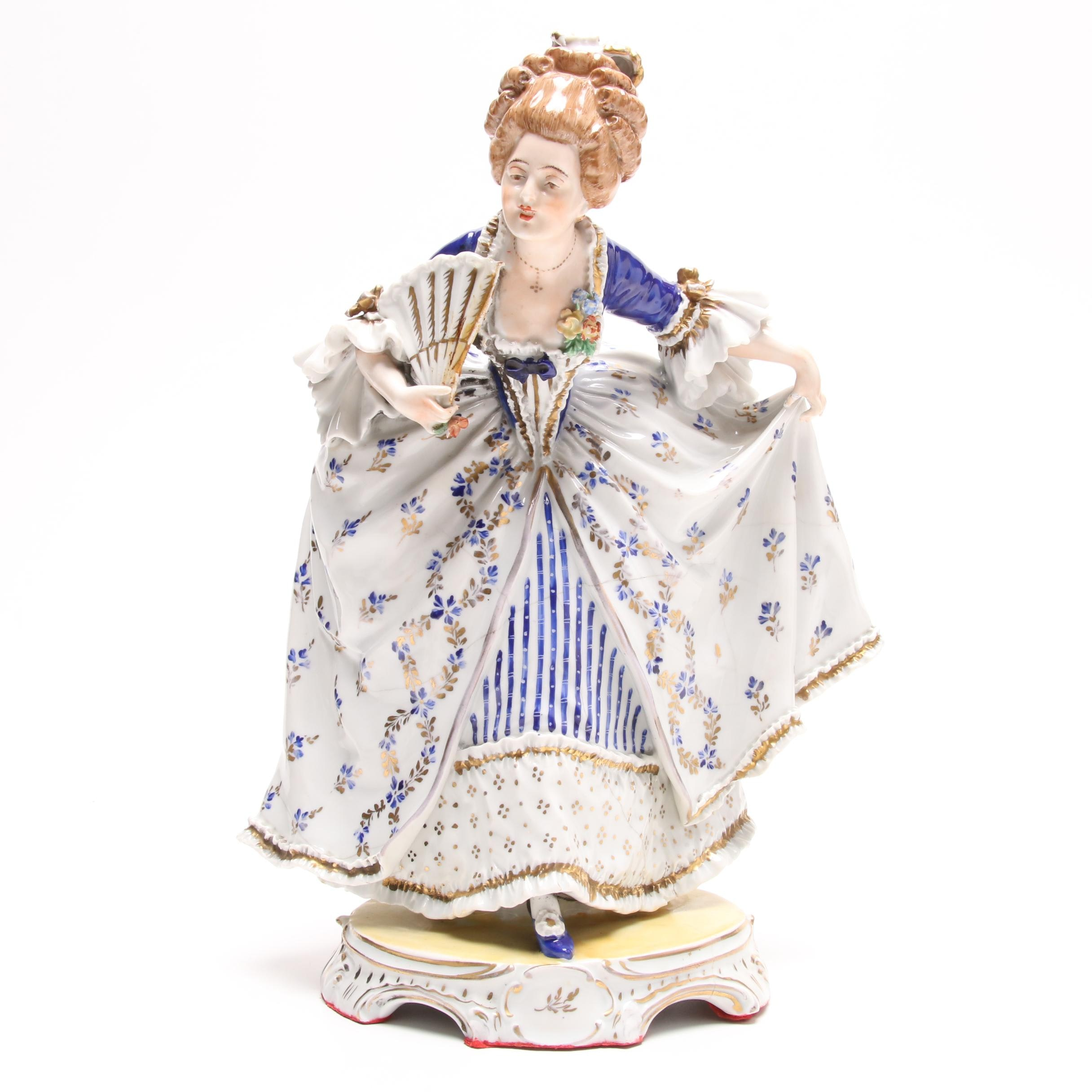 Carl Thieme Dresden Porcelain Figurine of a Woman, Early 20th Century
