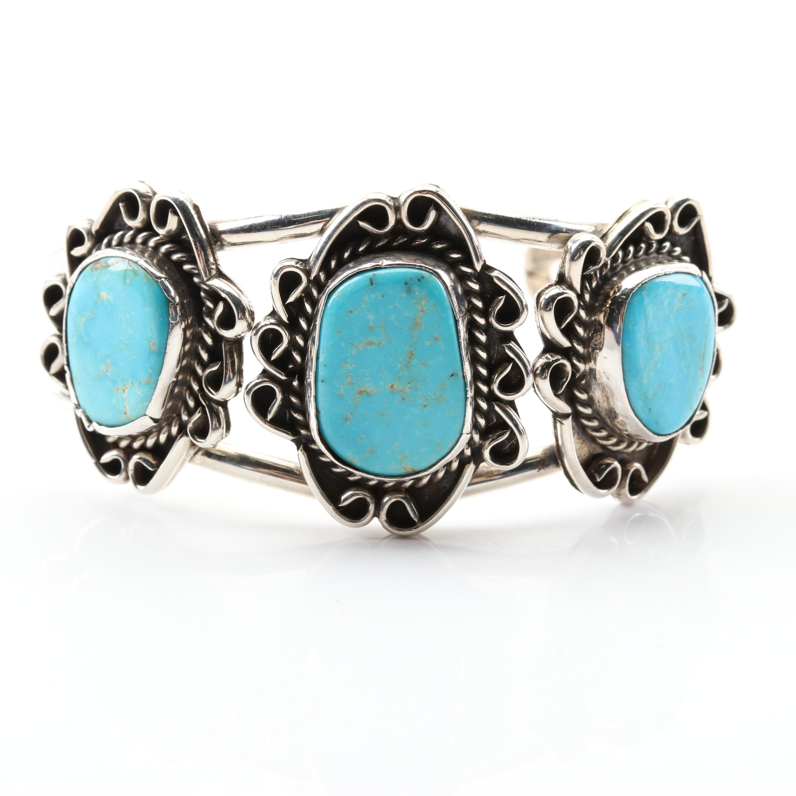 Southwestern Style Sterling Silver Freeform Turquoise Cuff Bracelet