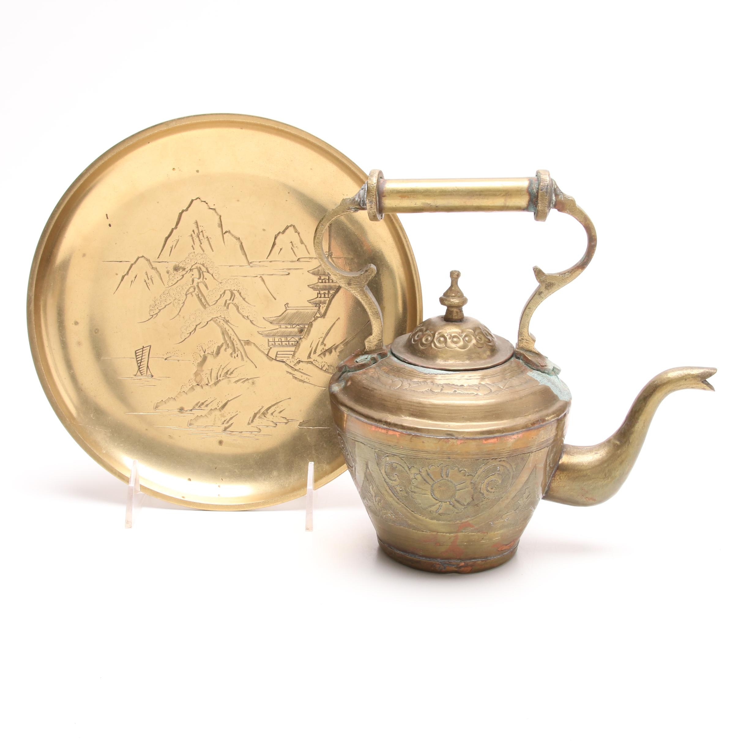 Asian Brass Tea Kettle and Embossed Charger