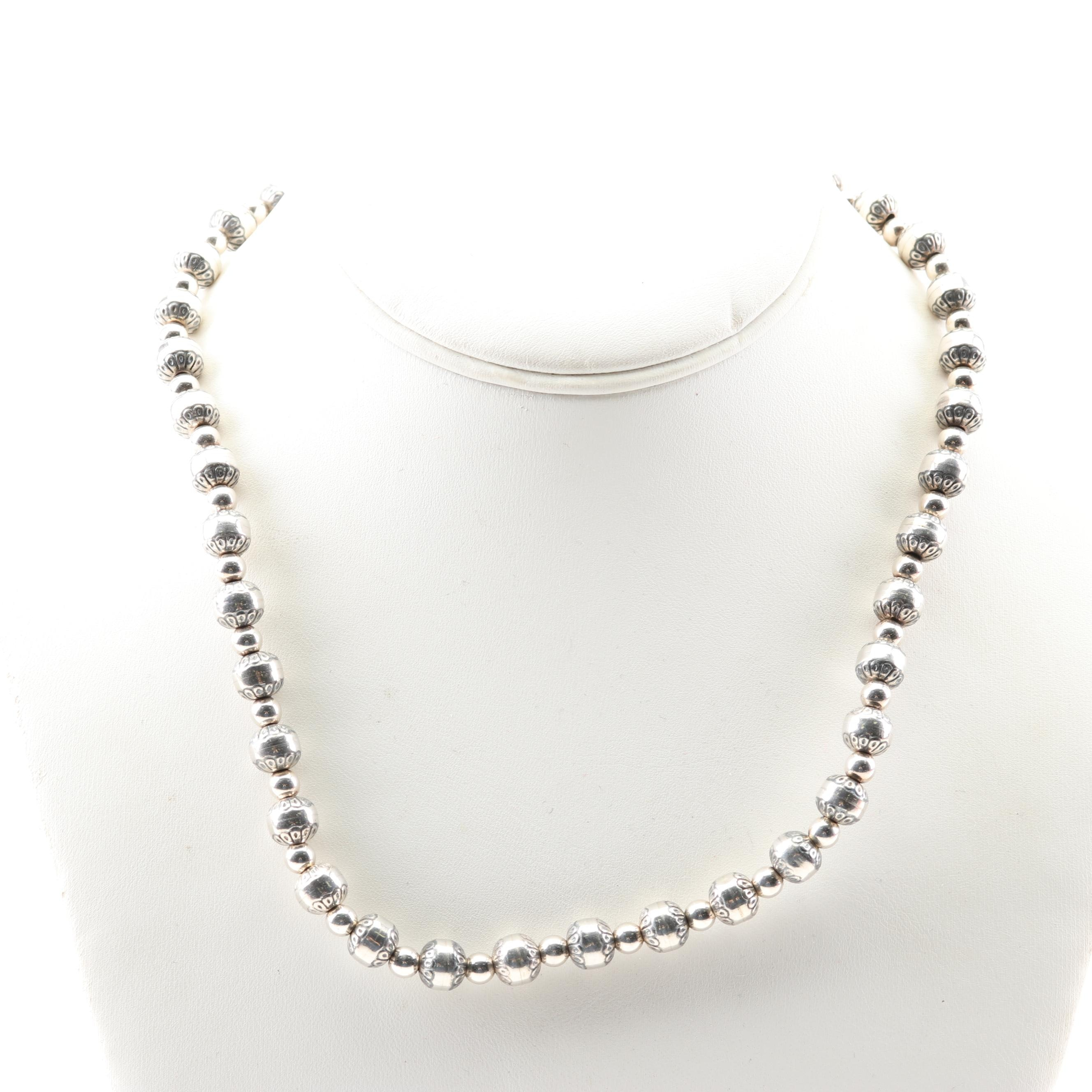 Carolyn Pollack Southwestern Style Sterling Silver Beaded Necklace
