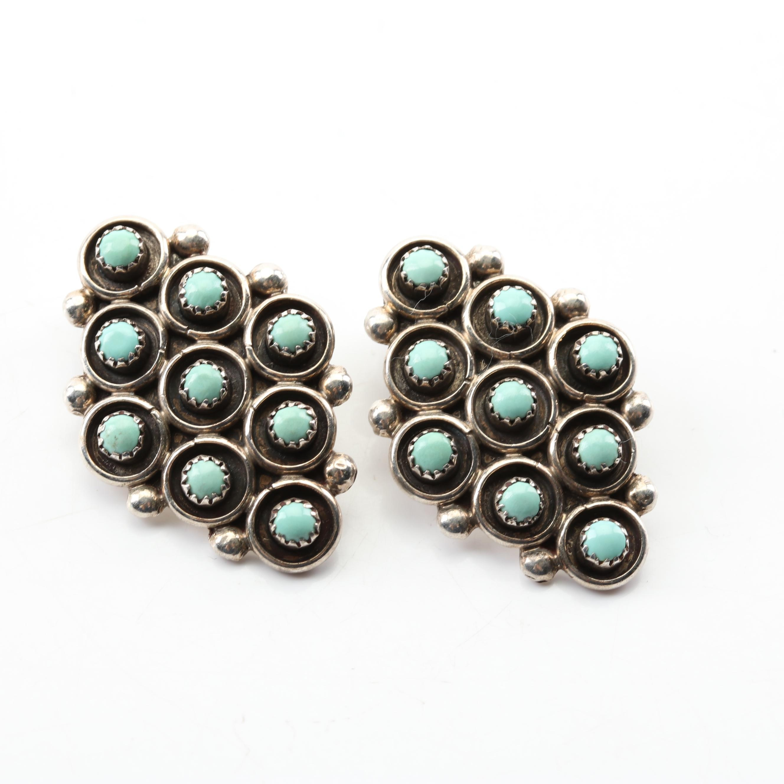 Vintage Sterling Silver Turquoise Clip-On Earrings