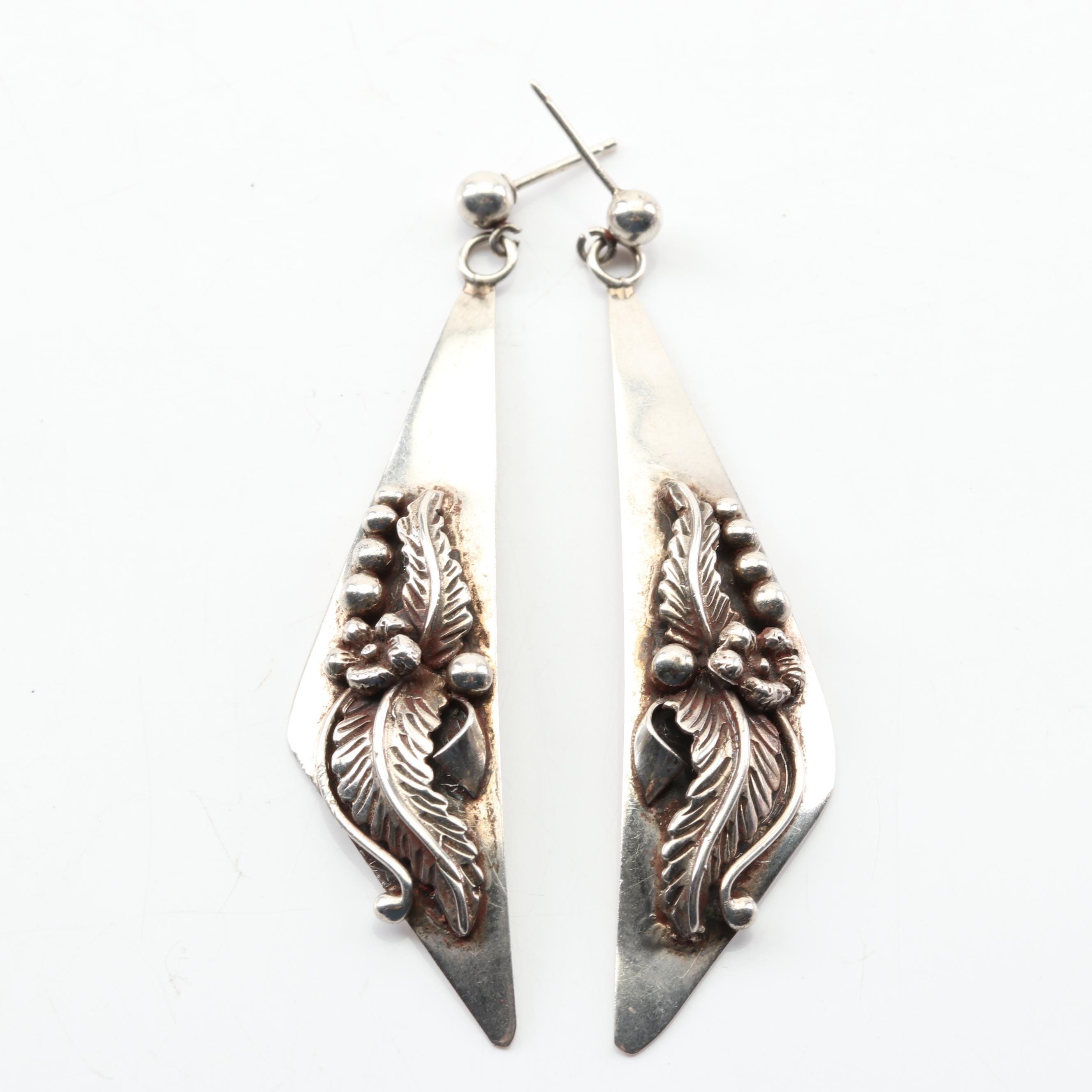 Southwestern Style Sterling Silver Dangle Earrings