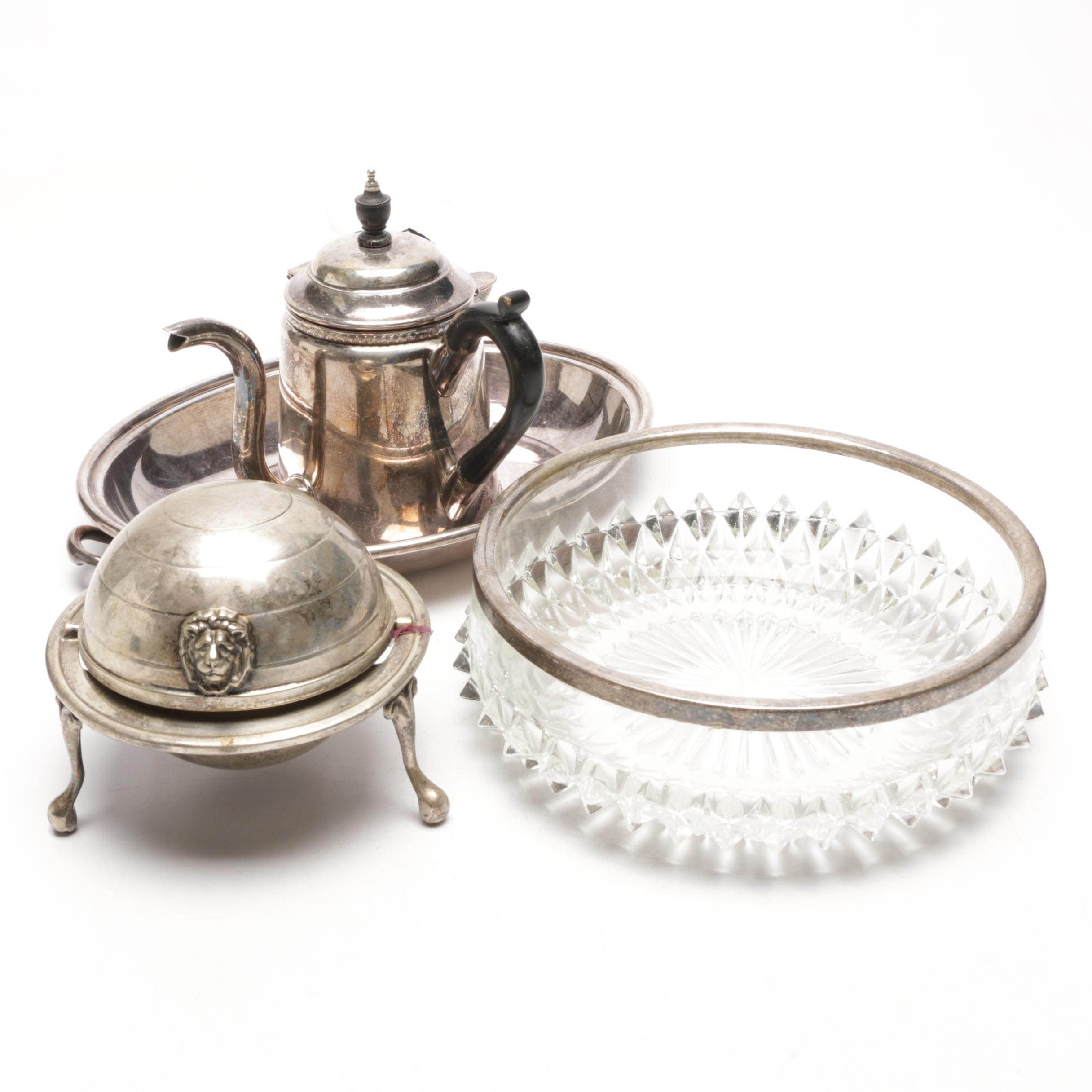 Collection of Silver Plate and Cut Glass Serveware