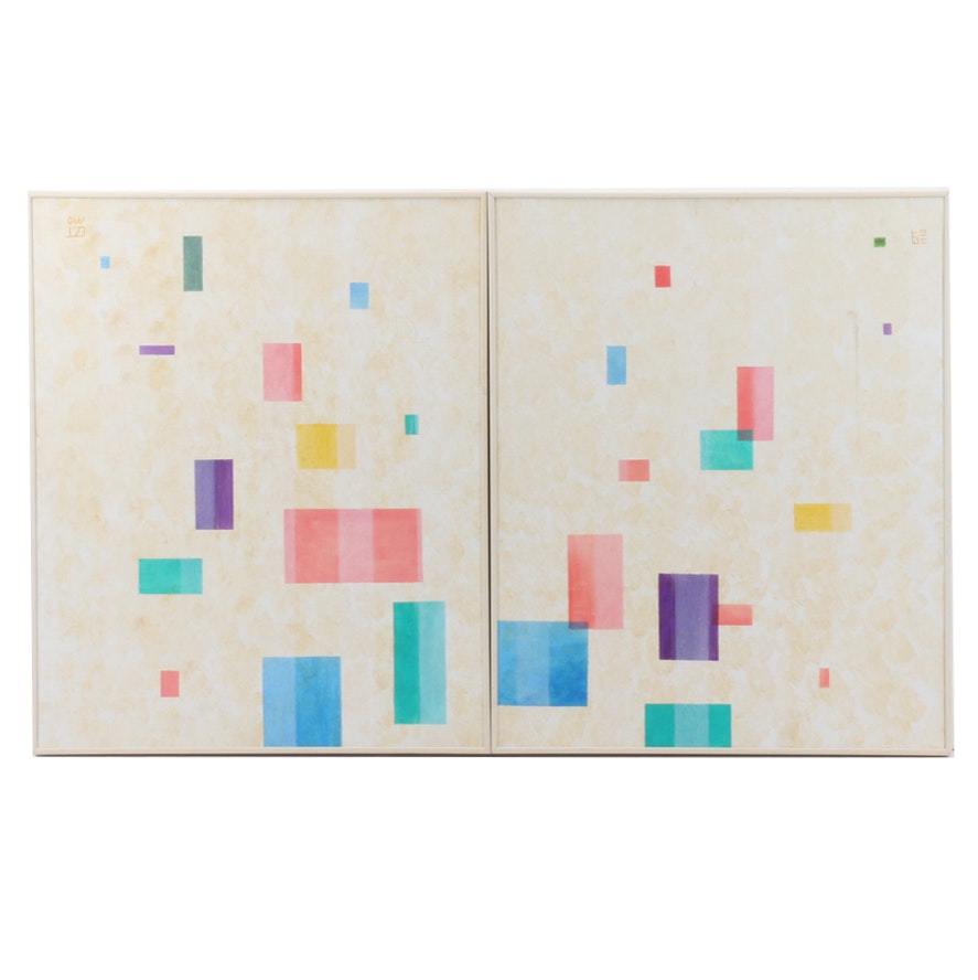 Geometric Abstract Acrylic Painting Diptych