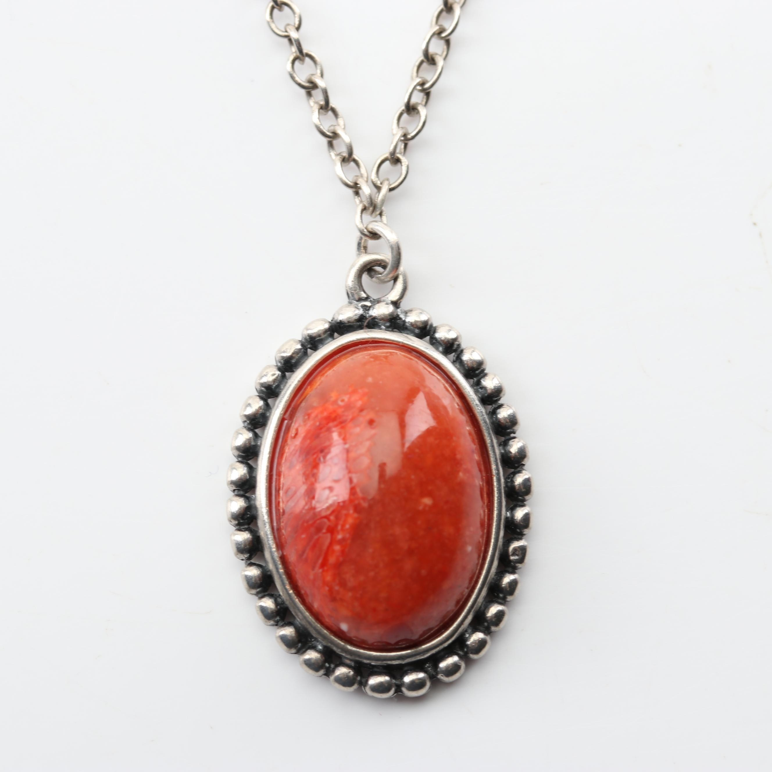 Silpada Sterling Silver Coral Pendant Necklace