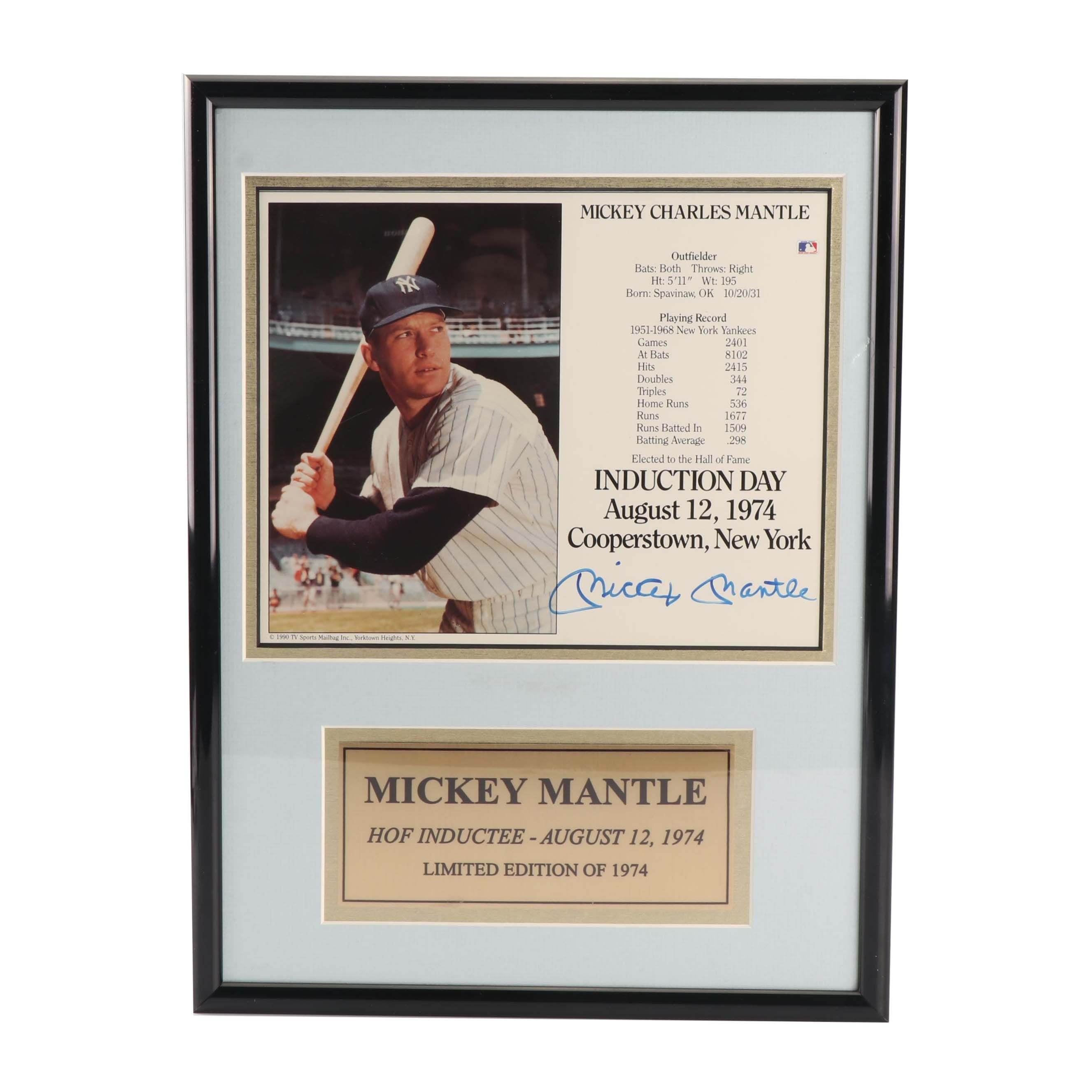 Mickey Mantle Autographed Hall of Fame Induction Day Display