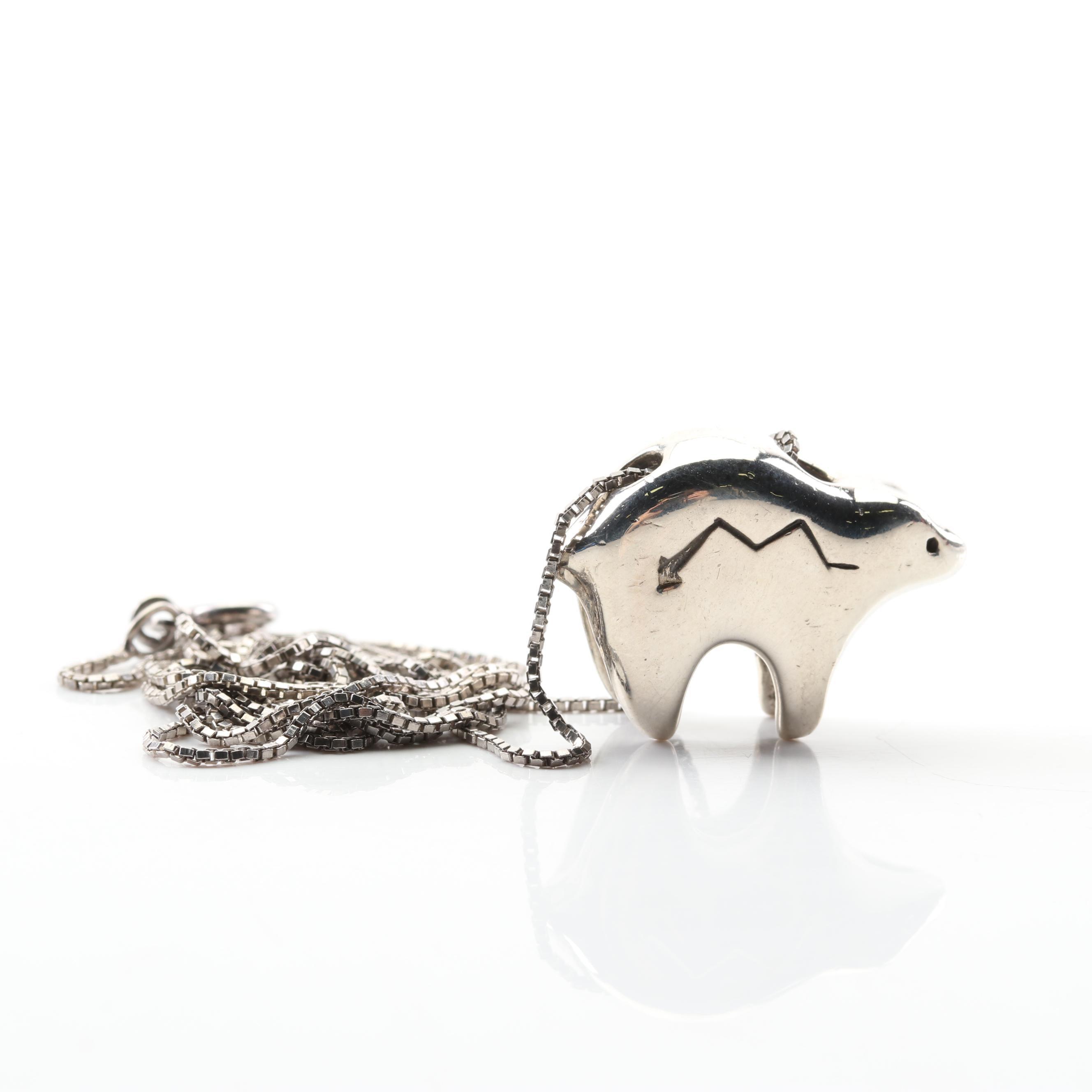 Sterling Silver Medicine Bear Pendant Necklace