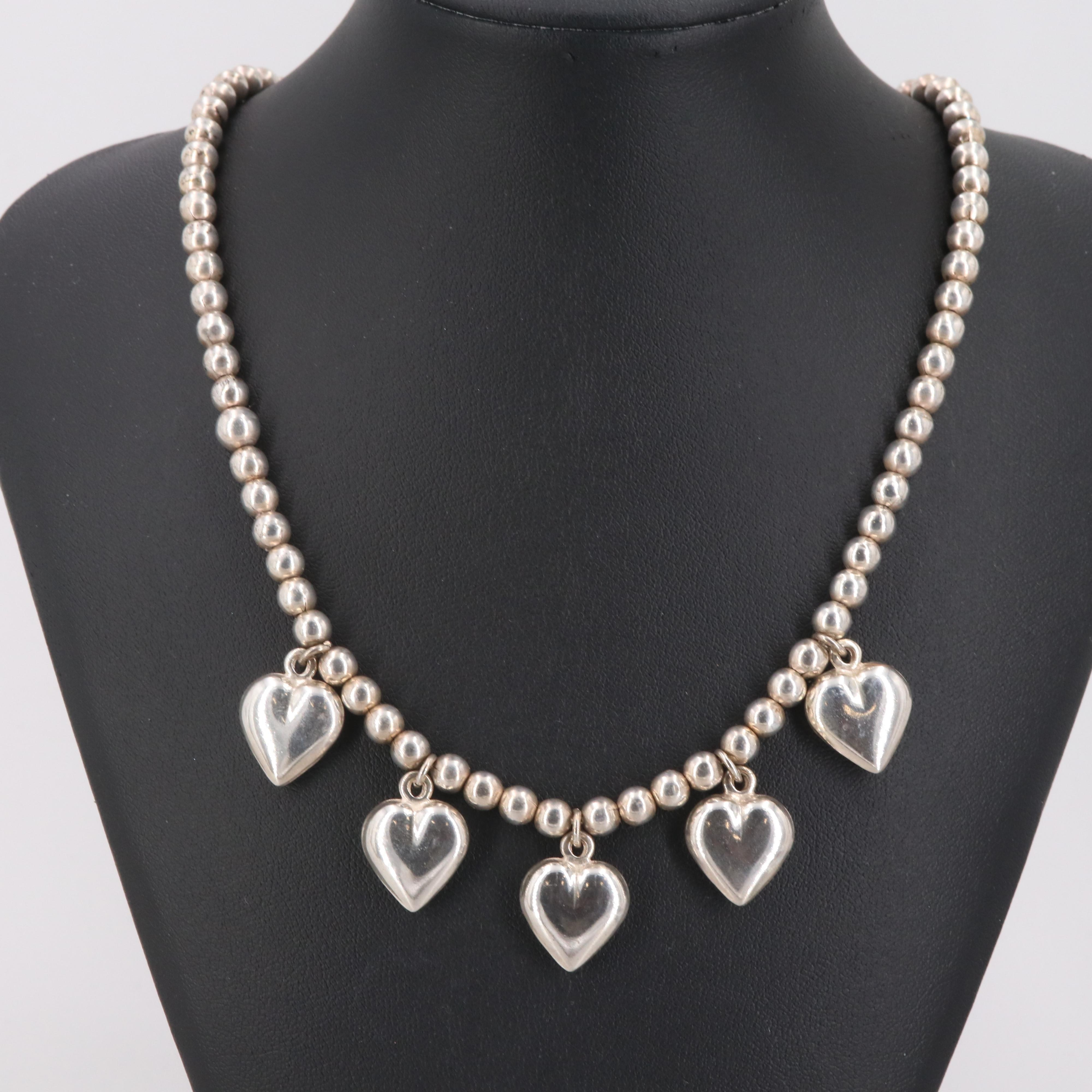 Sterling Silver Necklace with Heart Motif Pendants