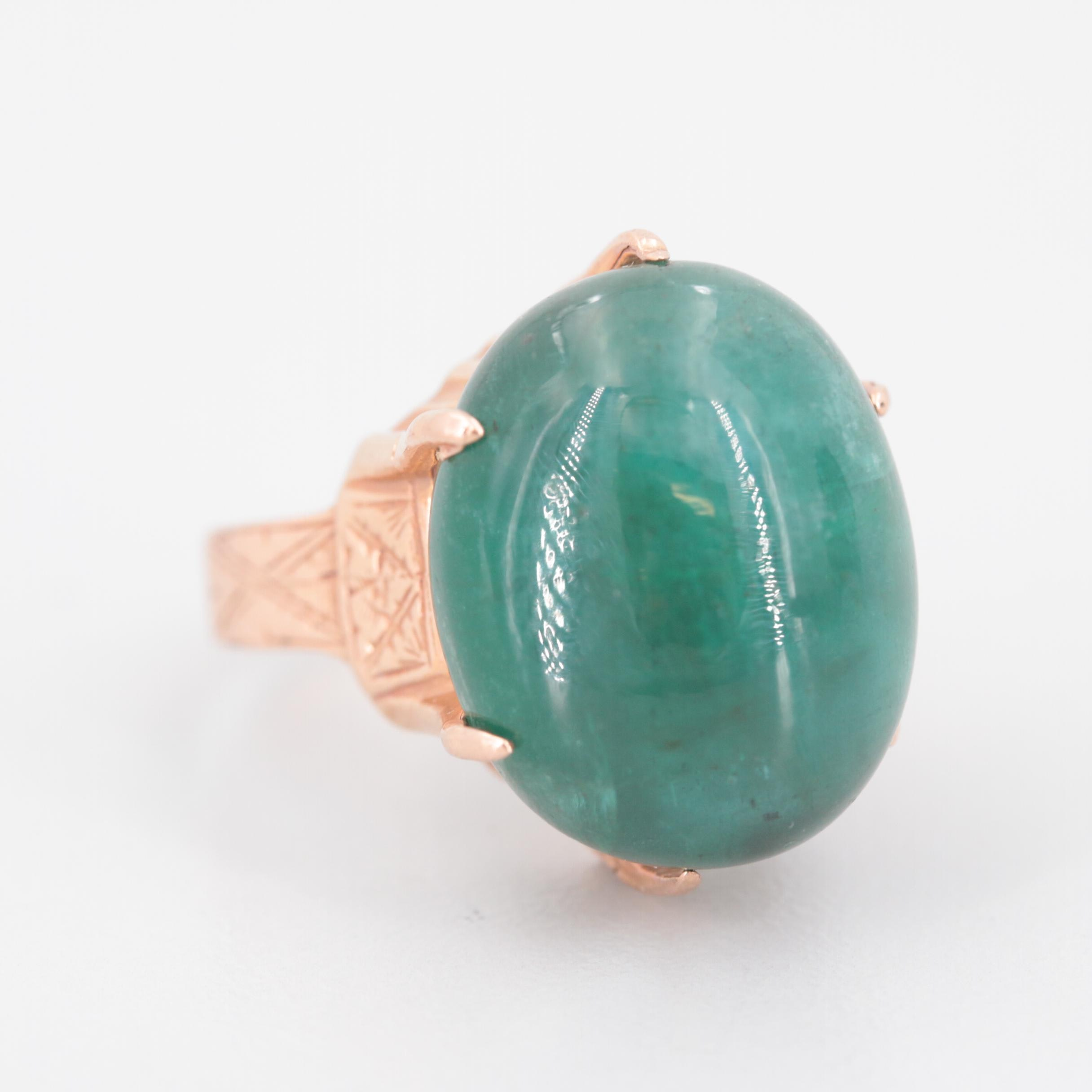 Victorian 10K Rose Gold 19.81 CT Emerald Ring
