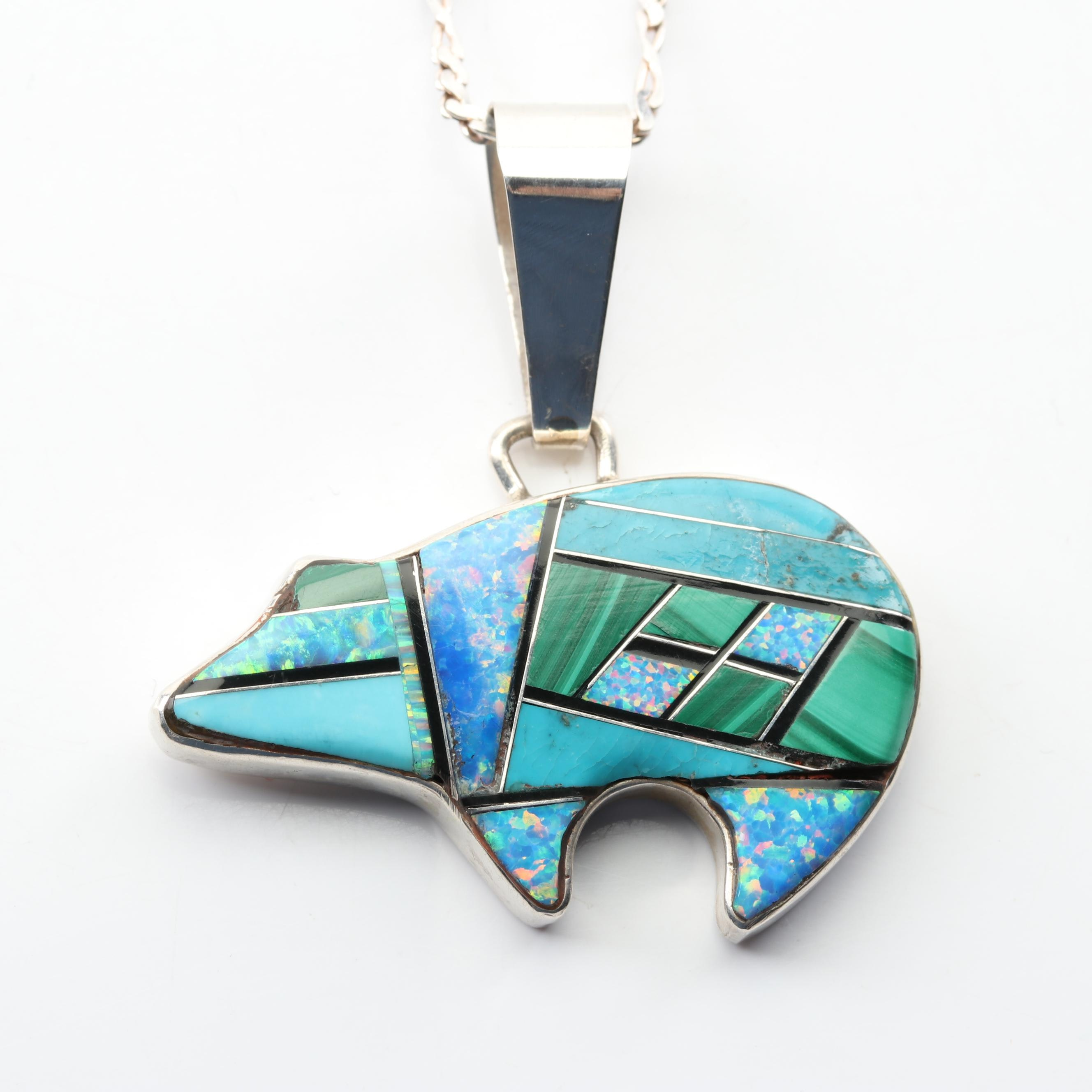 Phillip Sanchez Navajo Sterling Silver Mosaic Gemstone Pendant Necklace