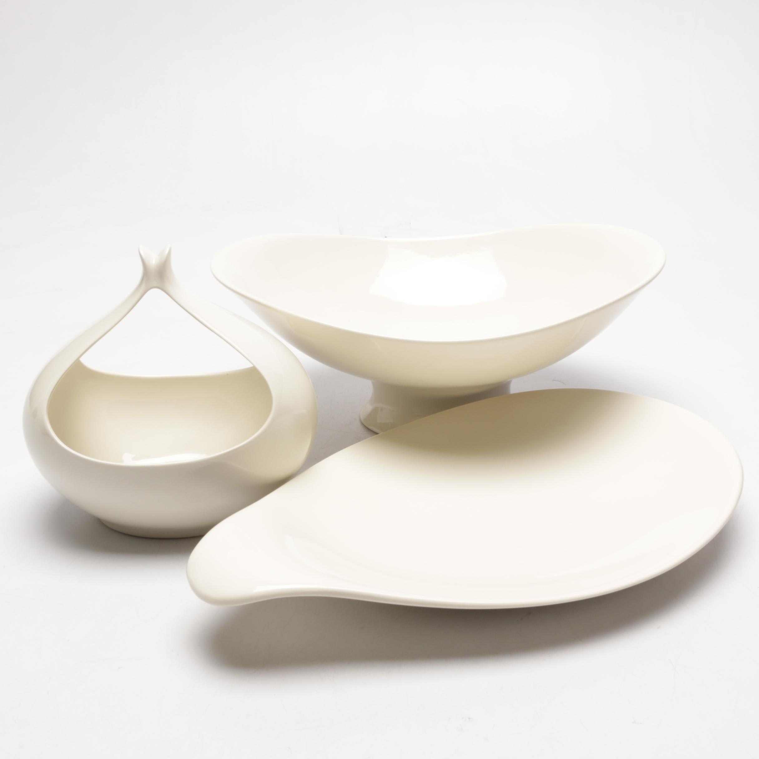 Eva Zeisel Classic Century Serving Dishes for Crate & Barrel in Ivory