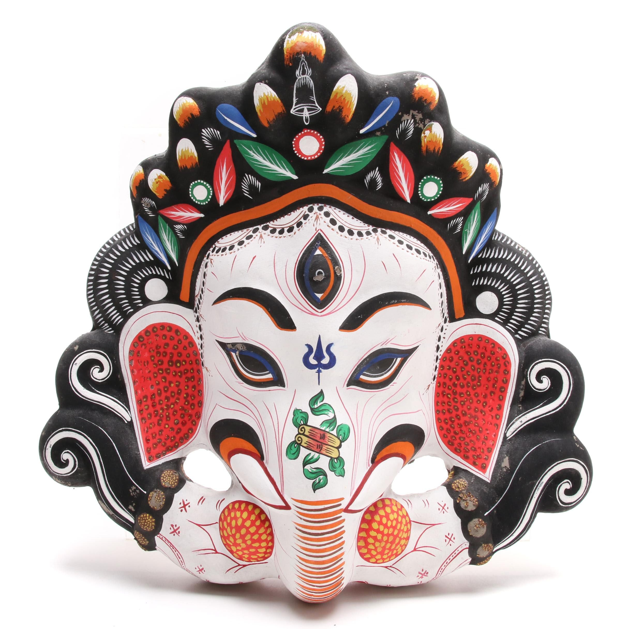 Indian Ganesha Painted Plaster Mask