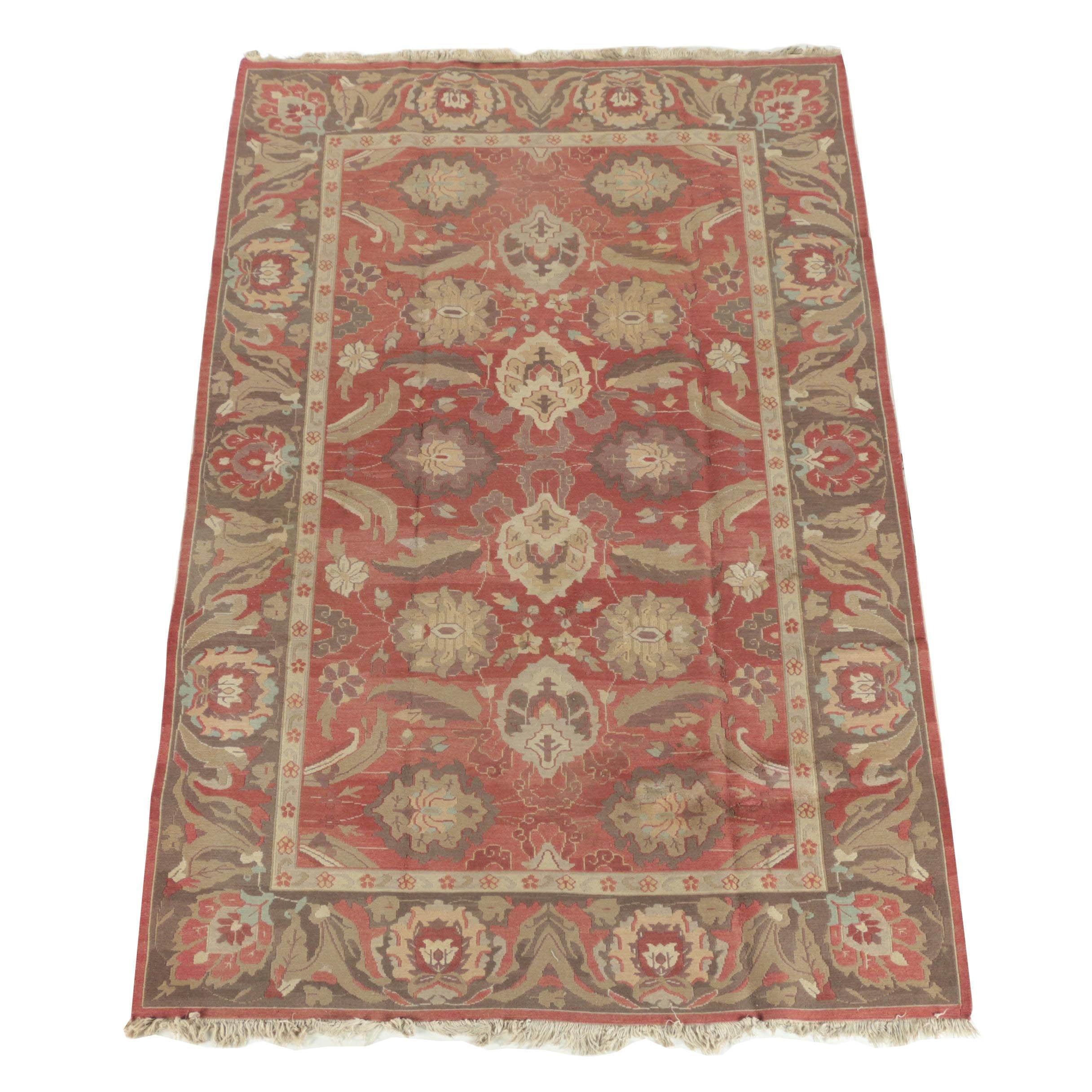 Handwoven Indian Agra-Style Wool Soumak Rug
