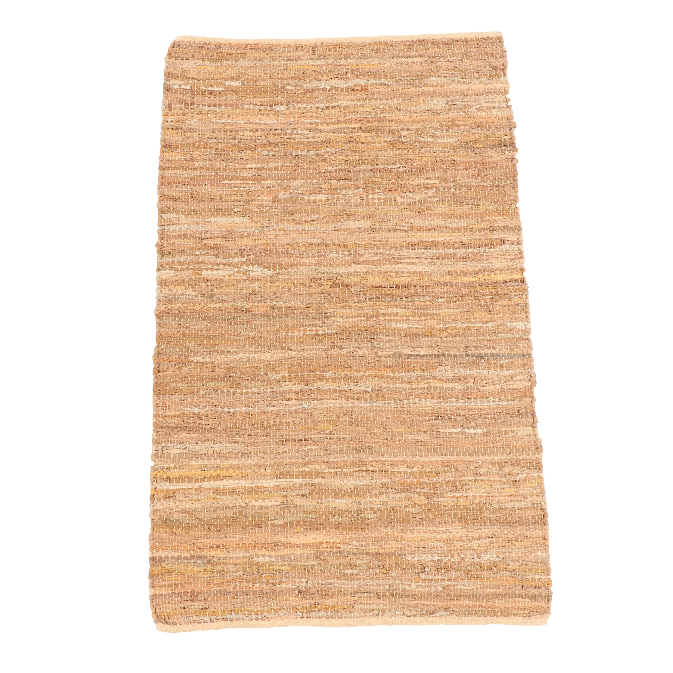 """Handwoven Indian Capel """"Lariat"""" Leather and Cotton Rug"""