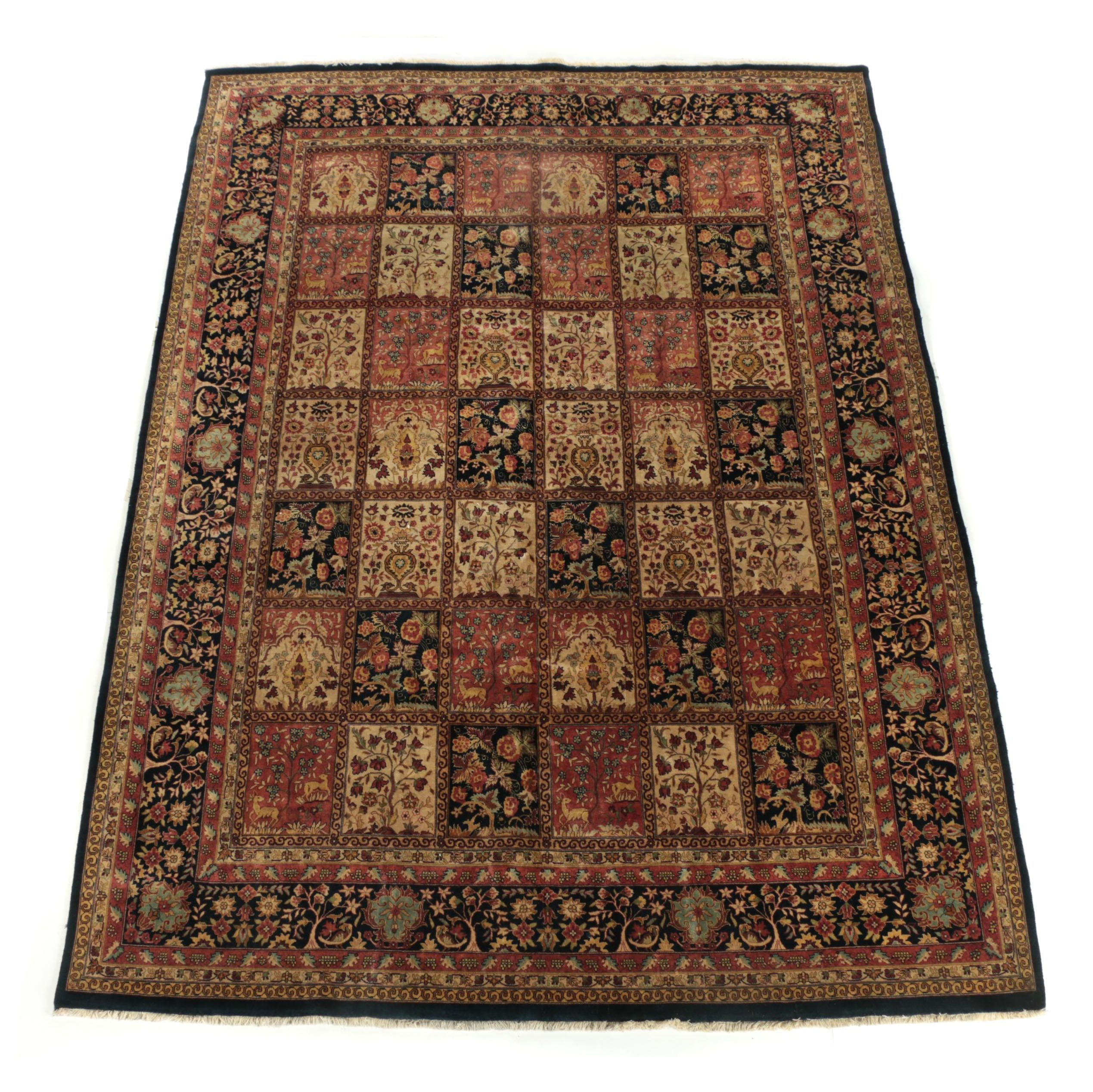 Hand-Knotted Indo-Persian Bakhtiari Wool Room Sized Rug