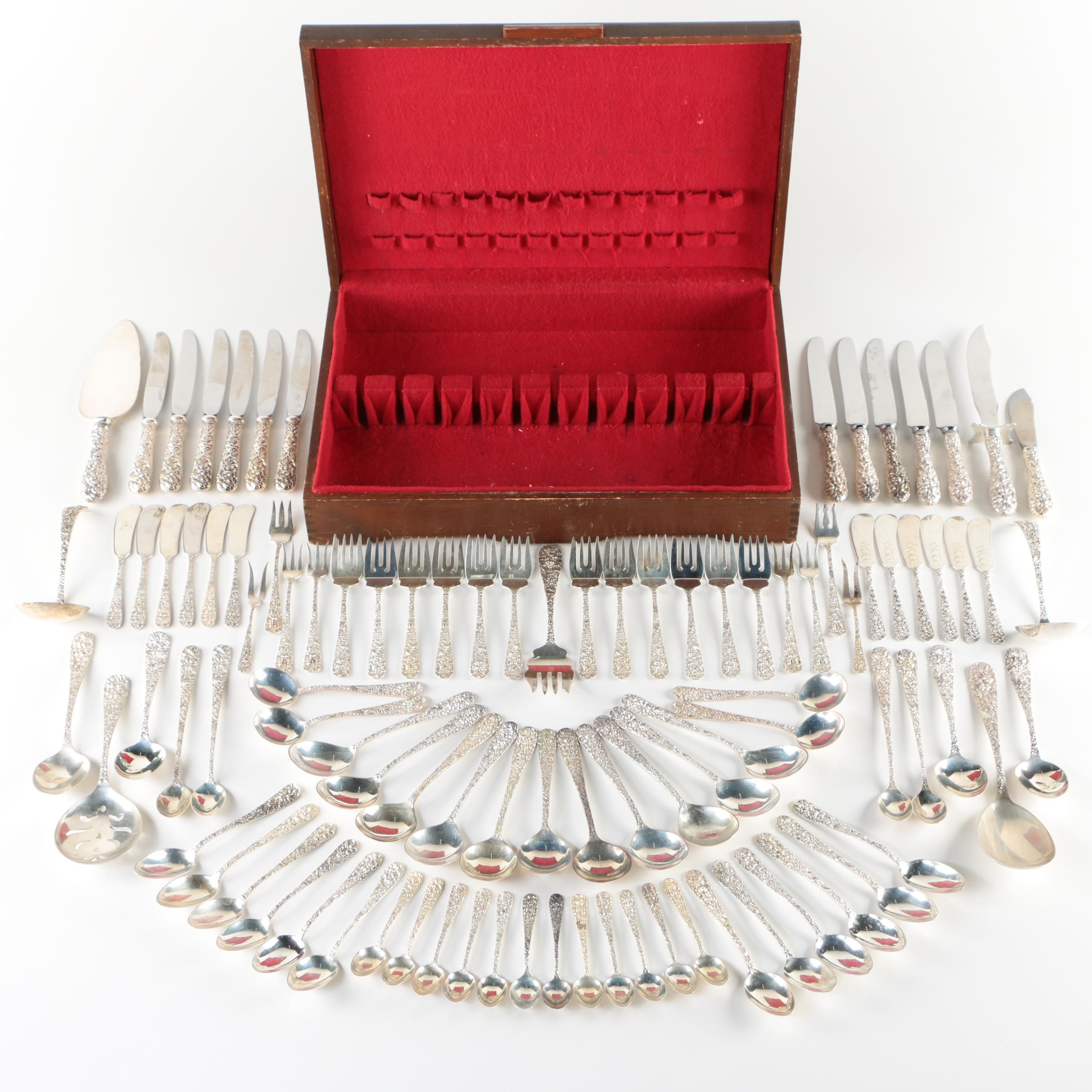 """The Stieff Company """"Repoussé"""" Sterling Silver Flatware with Chest, Mid-Century"""