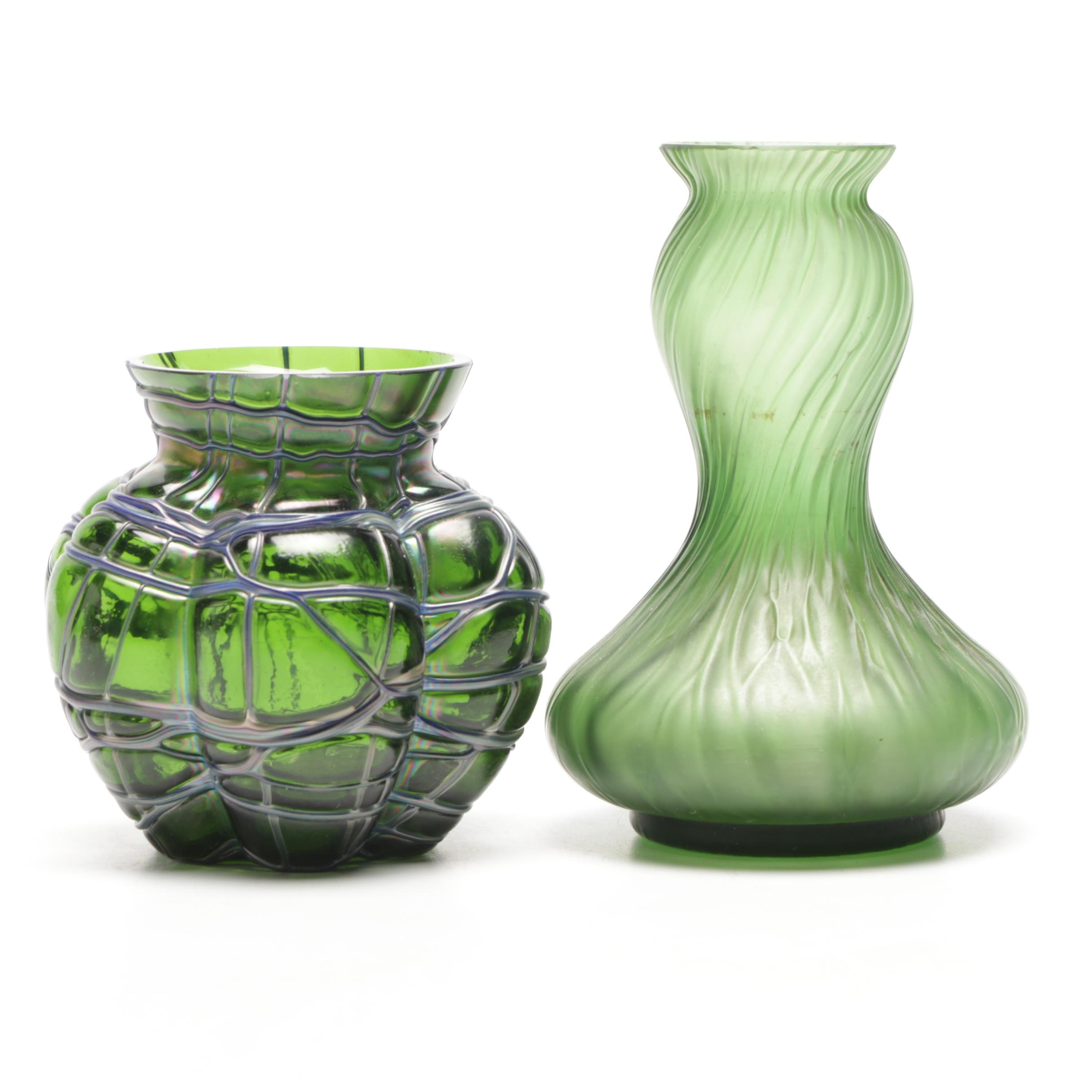 Two Green Art Glass Vases