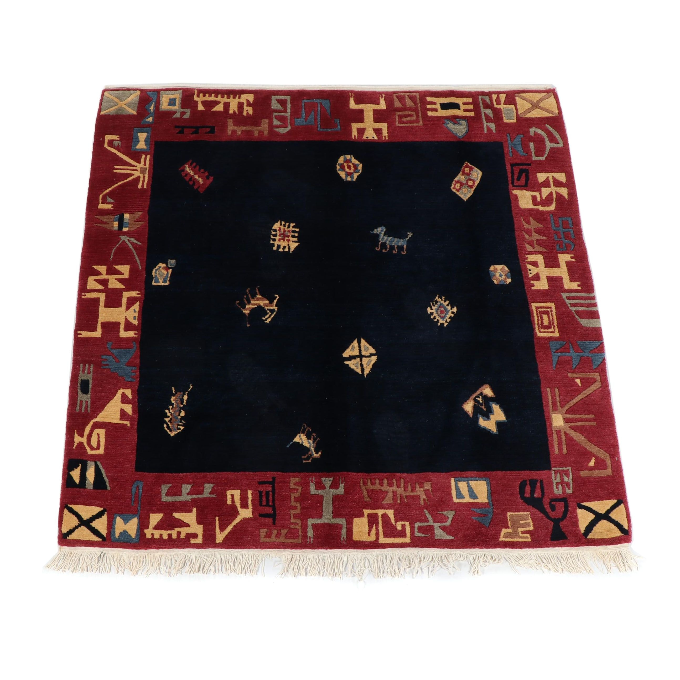 Hand-Knotted Nepalese Abstract Pictorial Wool Rug