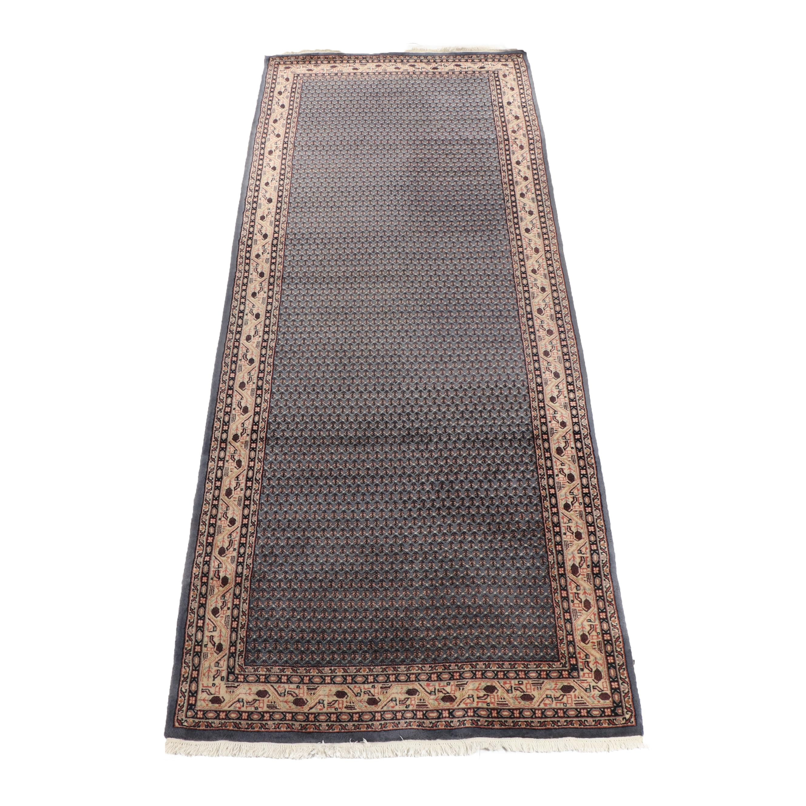Hand-Knotted Indo-Persian Mir Serabend Wool Long Rug