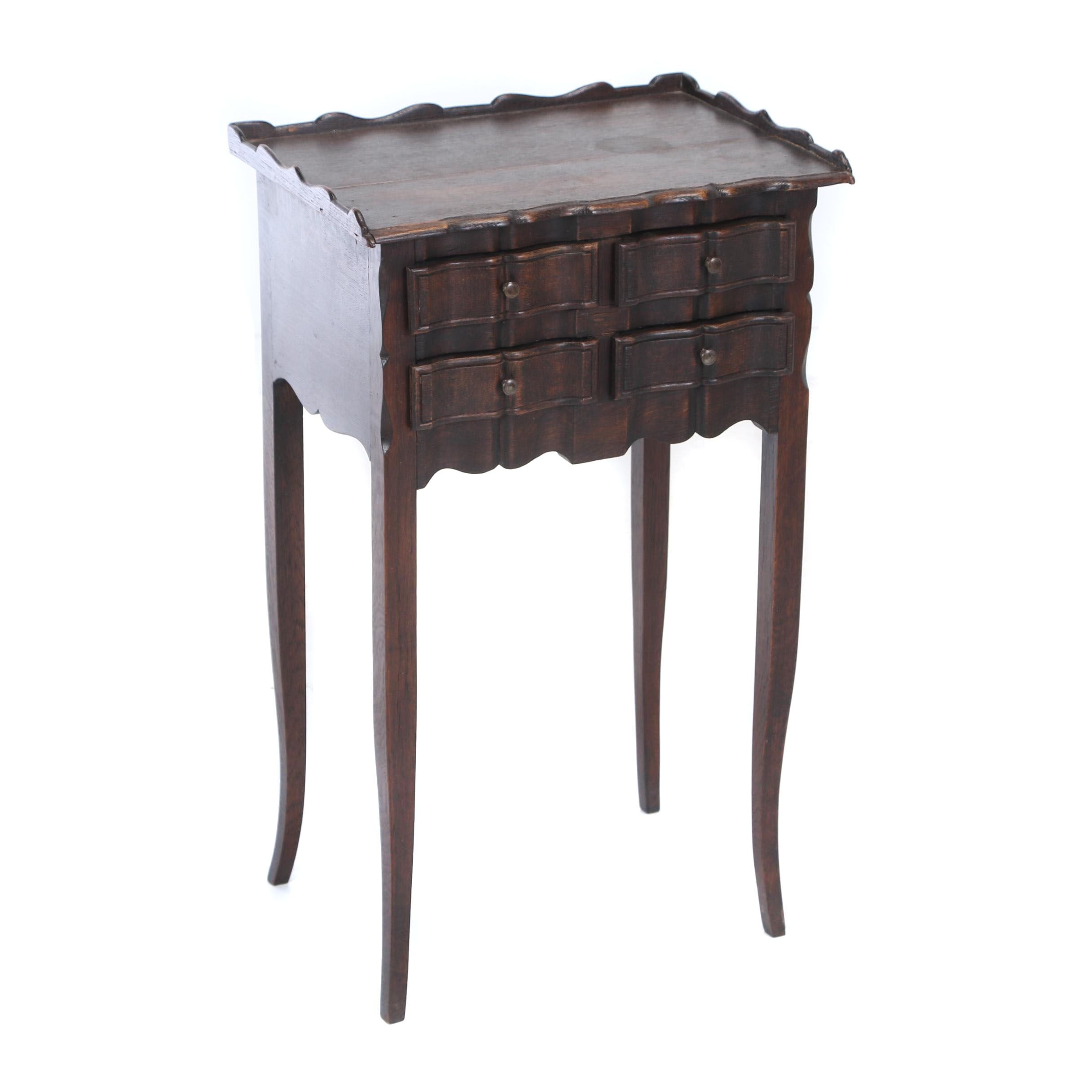 Louis XV Style Oak Four-Drawer Side Table, Early 20th Century
