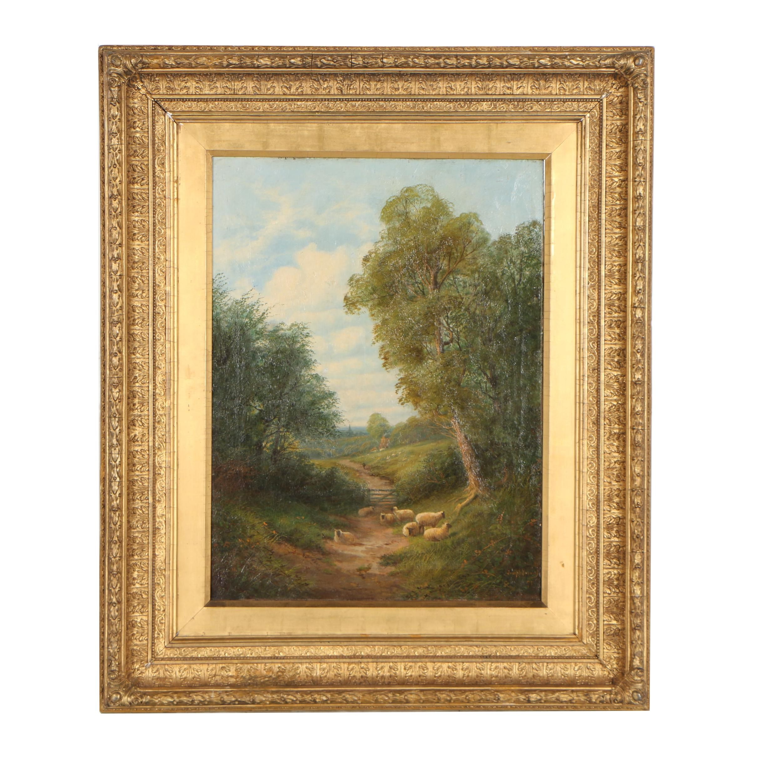 Joseph W. Yarnold 1878 Oil Painting of Pastoral Landscape