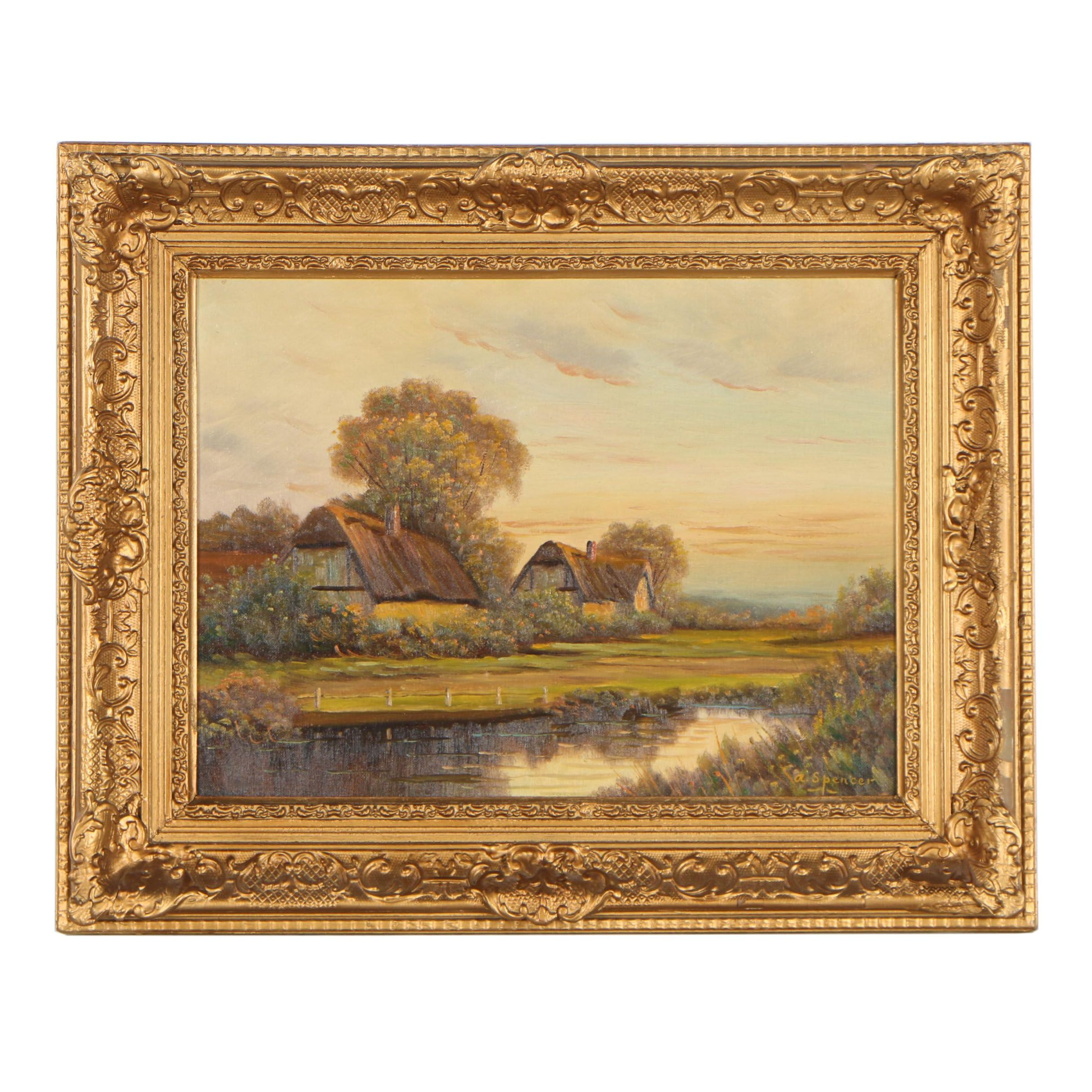 Augustus Spencer Oil Painting of Rural Landscape