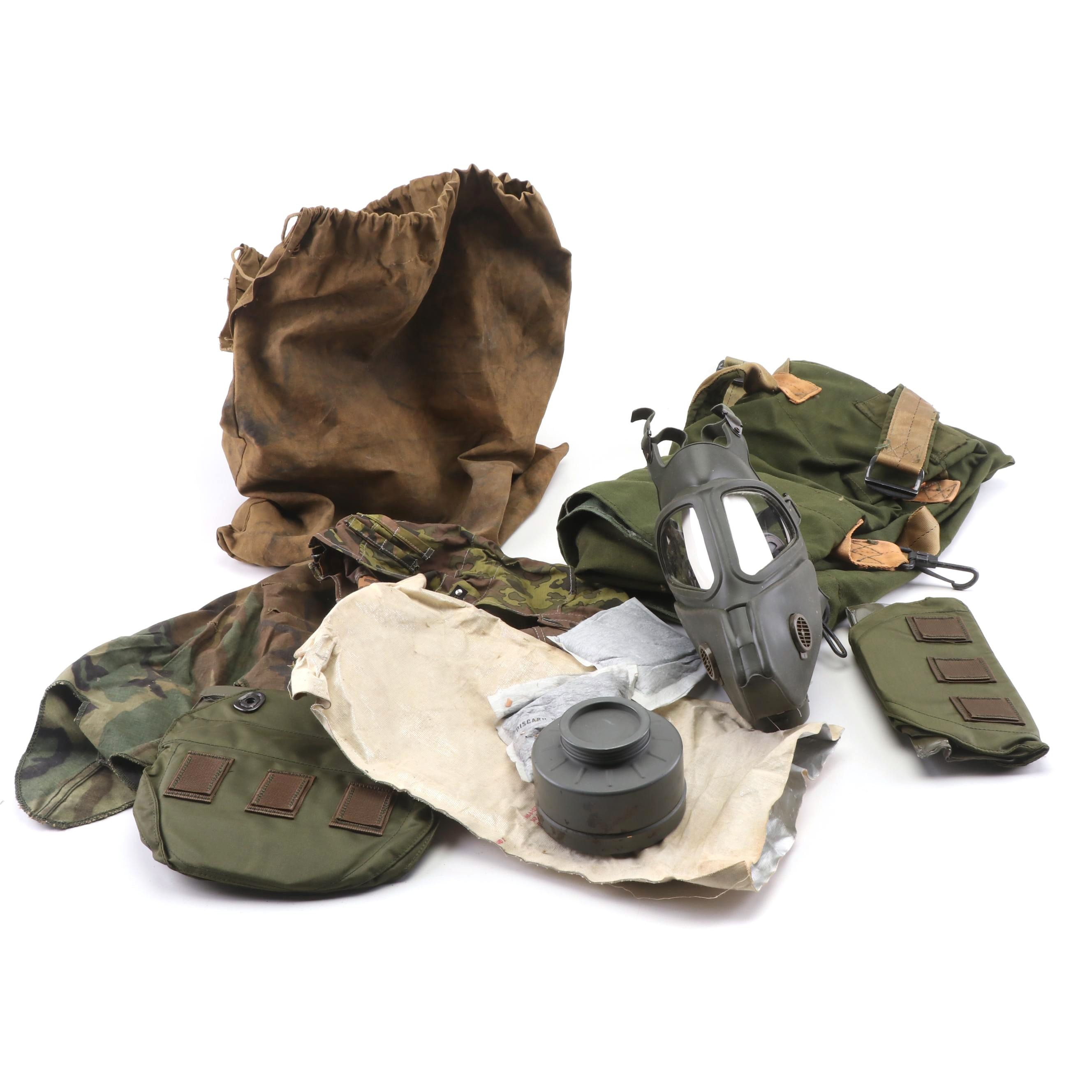 U.S. Military Supplies including Gas Mask, circa 1960s