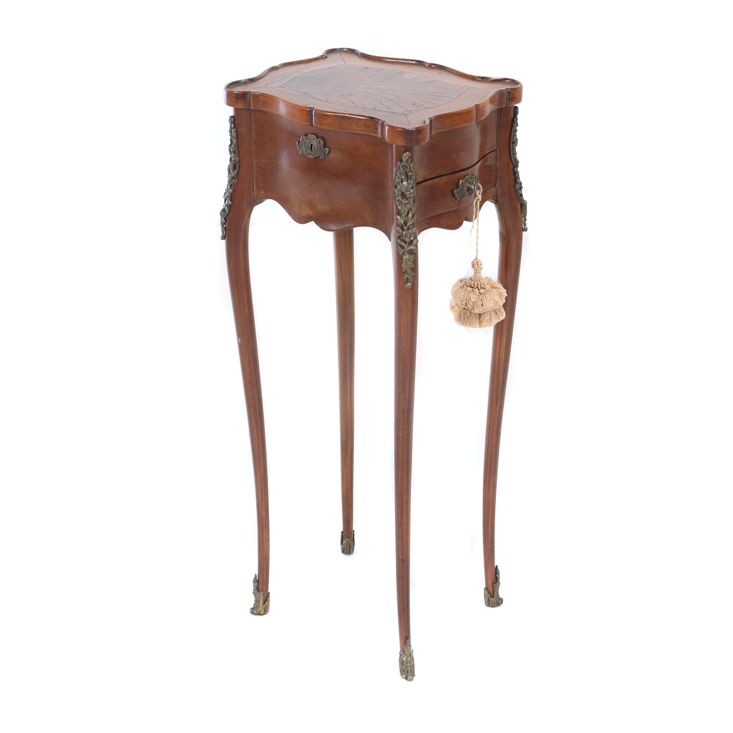 Louis XV Style Petite Side Table with Rosewood & Oyster-Veneer Lid, 20th Century