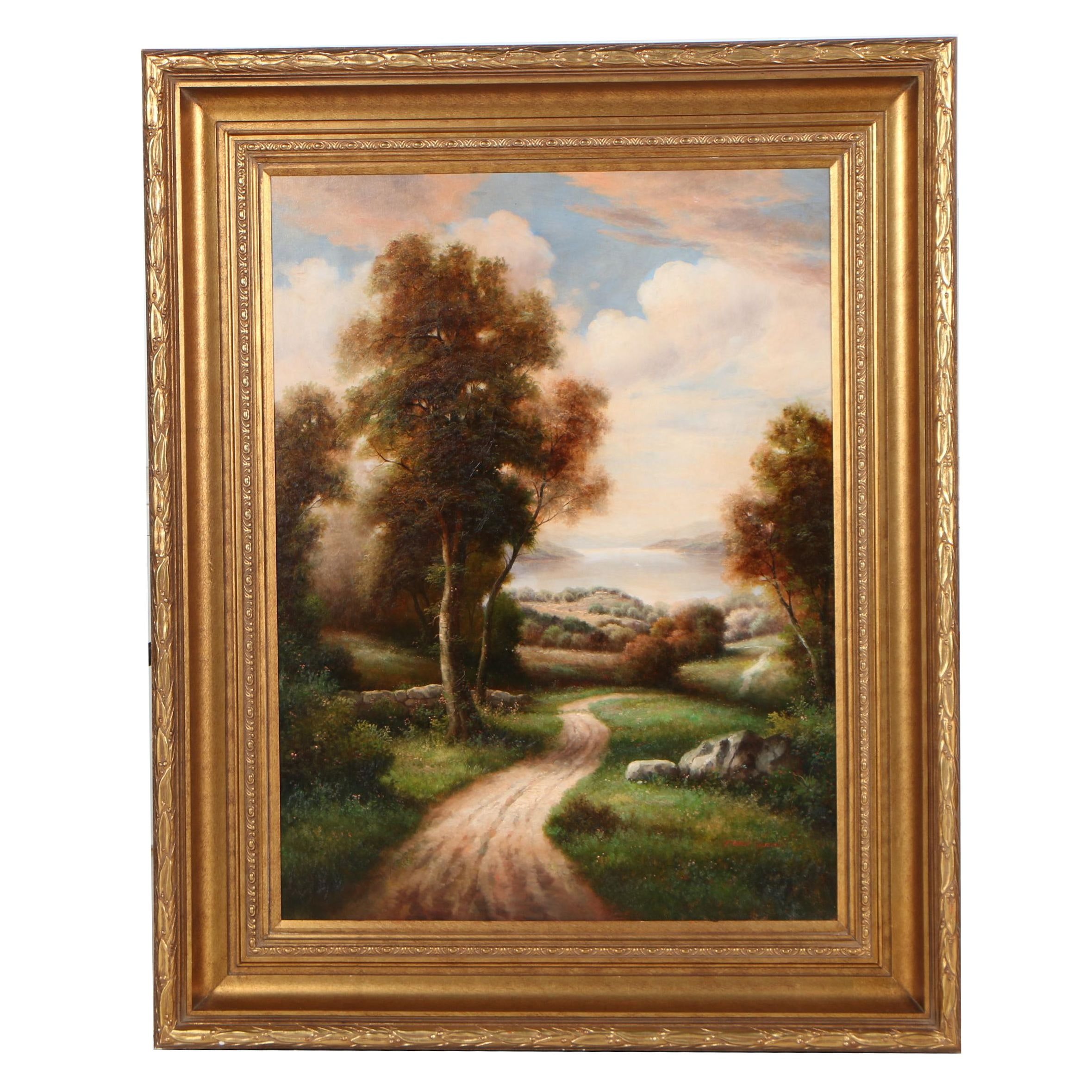 Peter Green Oil Painting of Rural Landscape