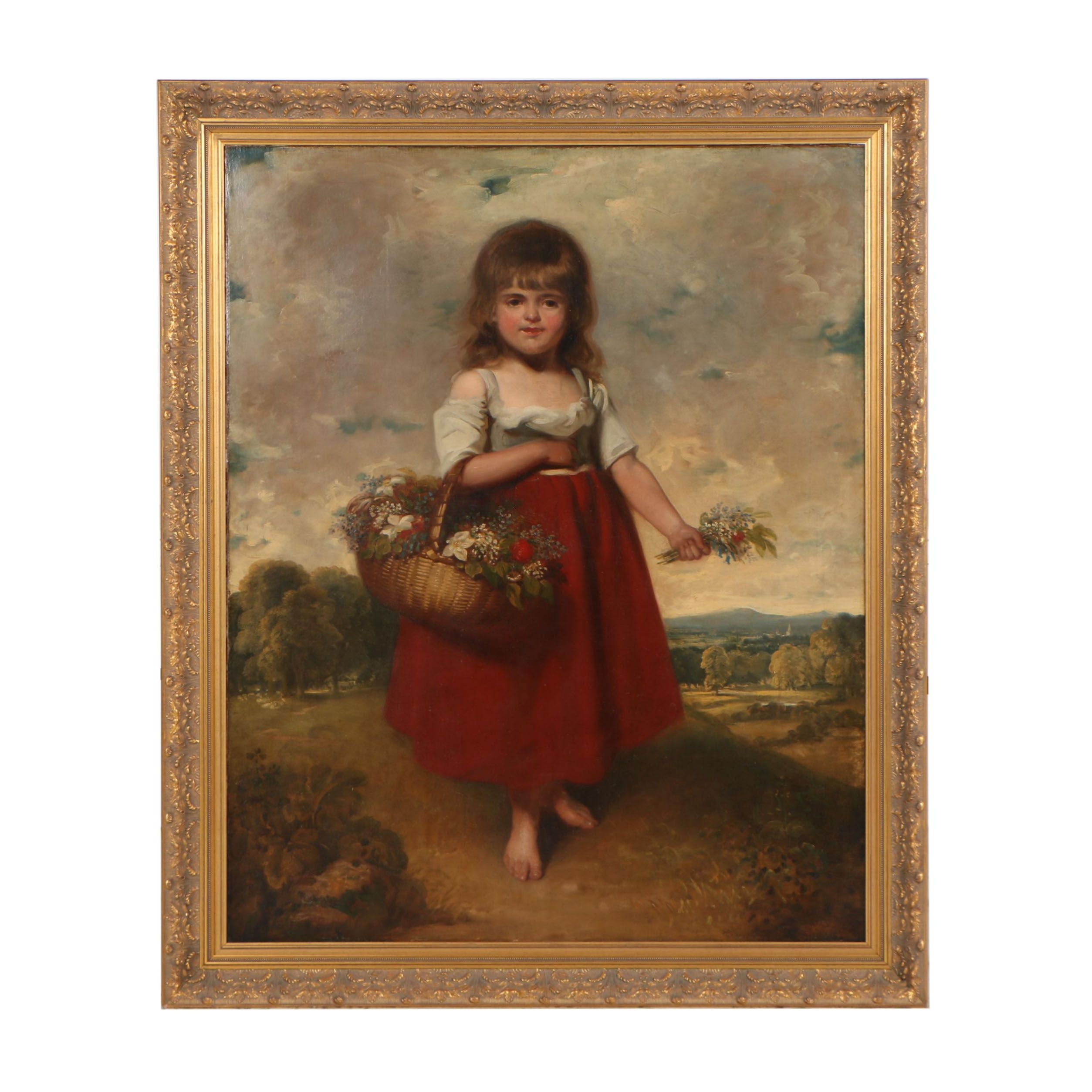 "Early 19th Century English School ""Girl With Flower Basket"""