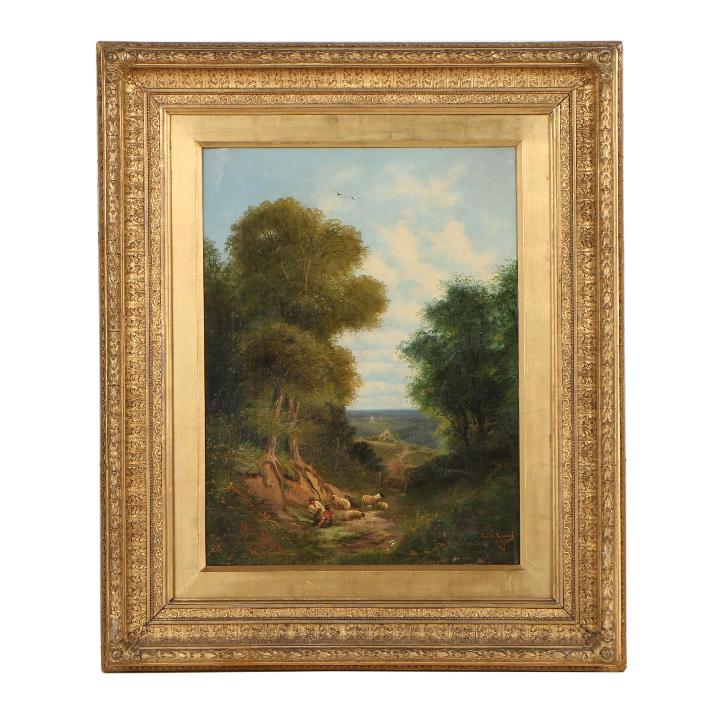 Joseph W. Yarnold 1874 Oil Painting of Pastoral Lanscape