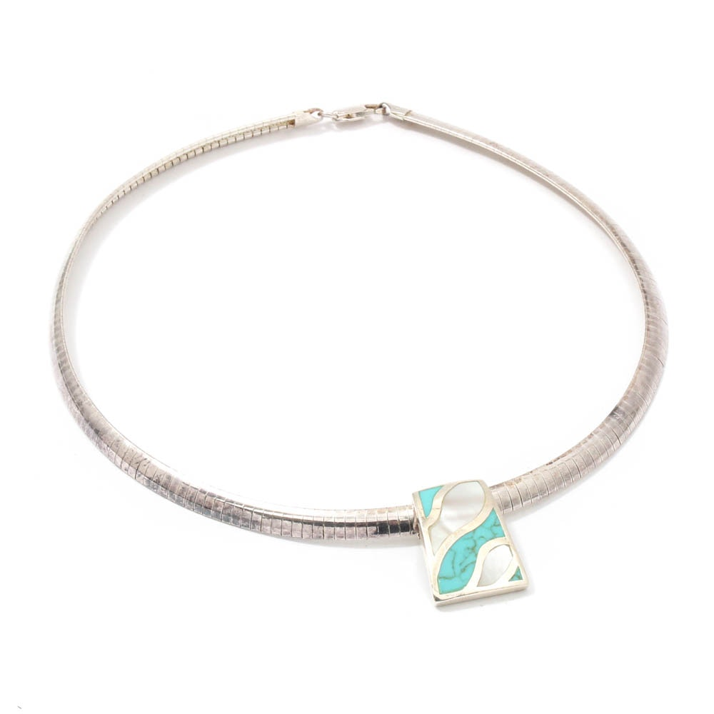 Milor Sterling Silver Mother of Pearl and Synthetic Turquoise Necklace