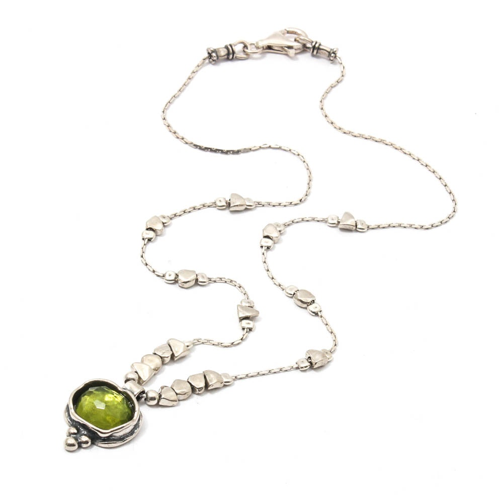 Silpada Sterling Silver Faceted Green Glass Pendant Necklace
