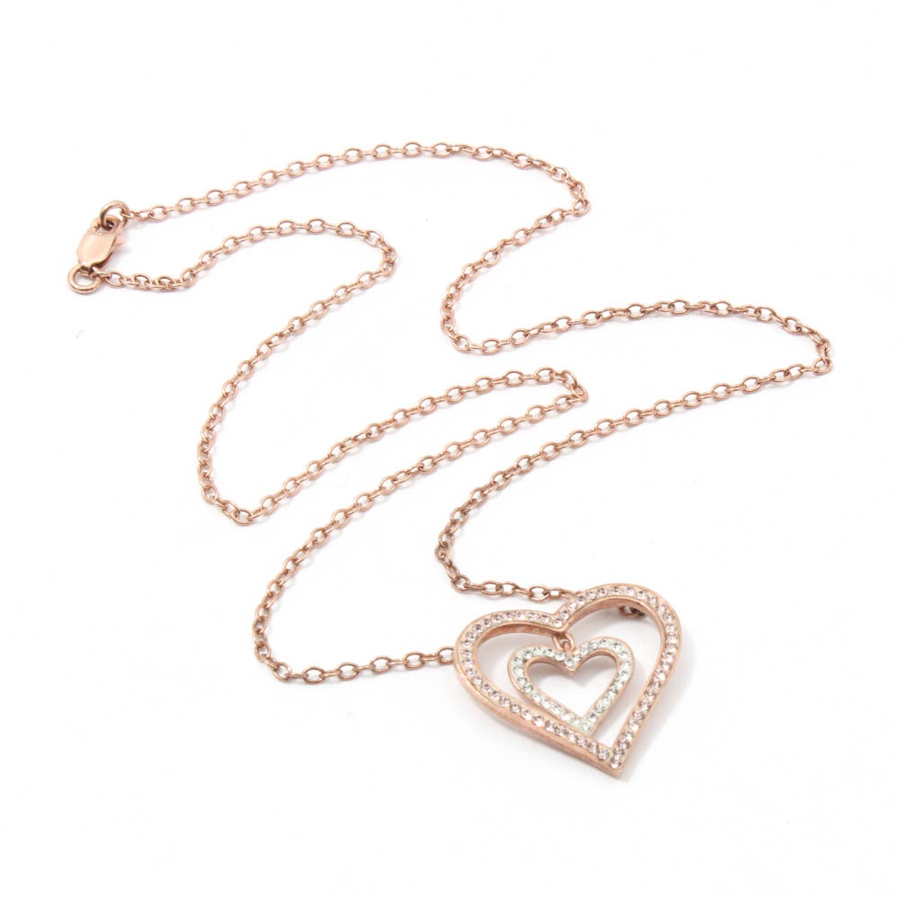 Rose Gold Wash on Sterling Silver Crystal Heart Necklace