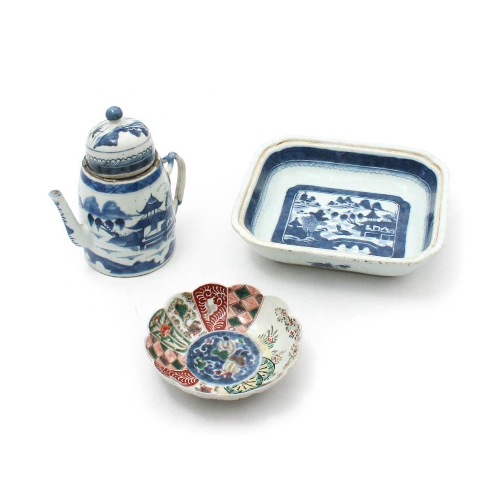 Imari and Canton Export Porcelain Tableware, 19th Century
